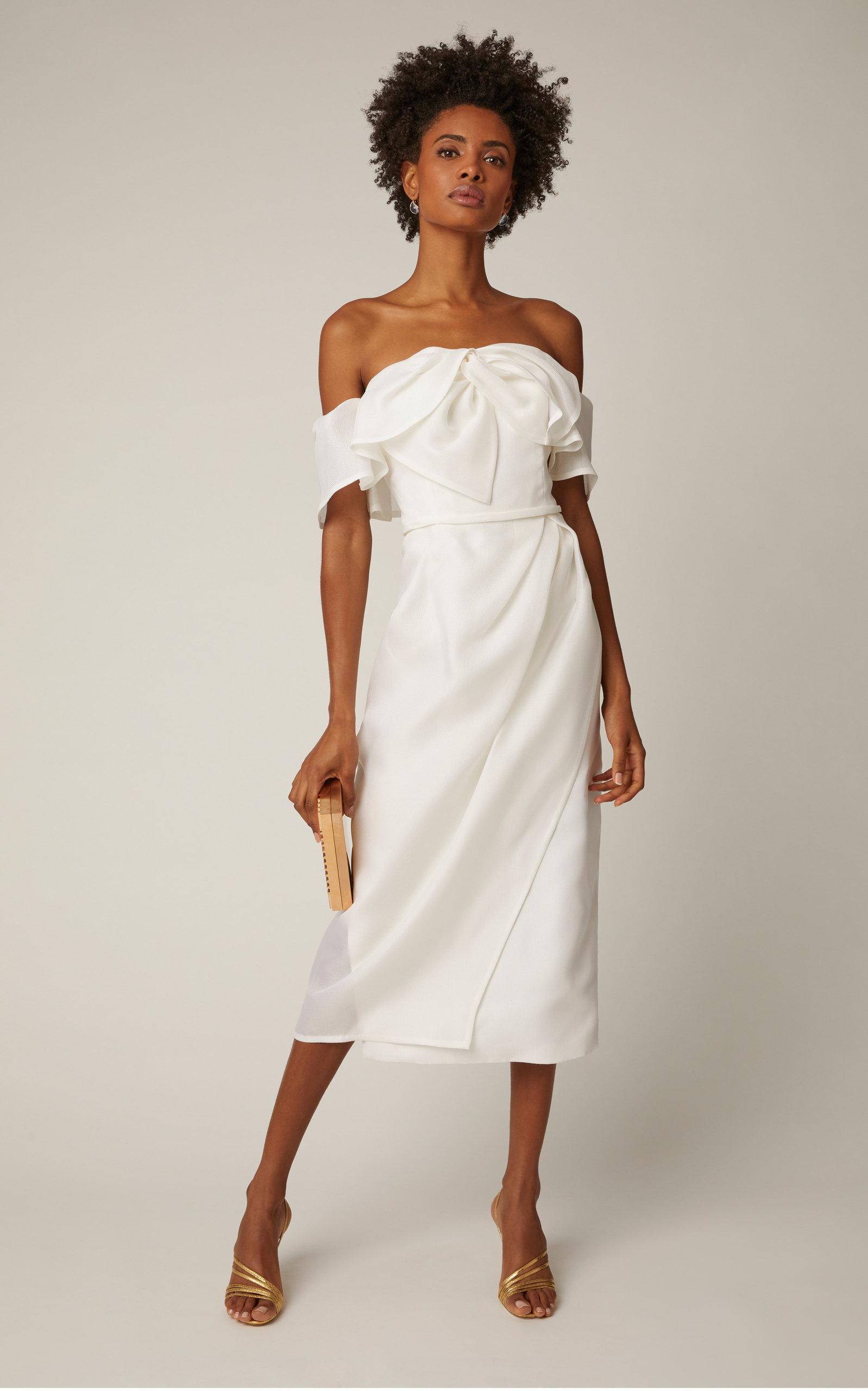 e5d1f5a467928c Carolina Herrera BridalHarley Off-The-Shoulder Bow-Embellished Silk Midi  Dress
