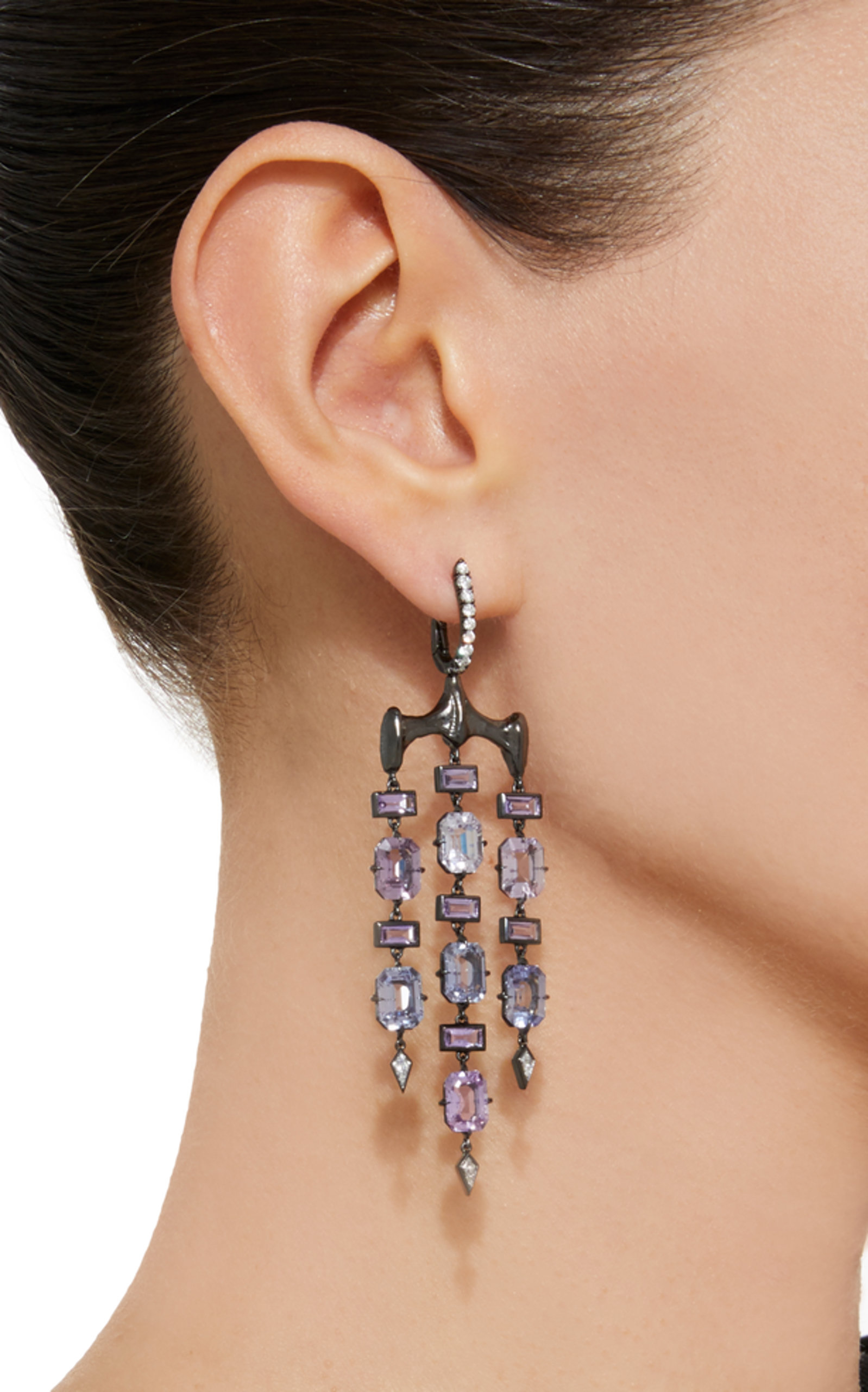 One-of-a-kind Boucles D'oreille Chrona Avec Diamants Et Saphirs Violets Vram VD3Dj