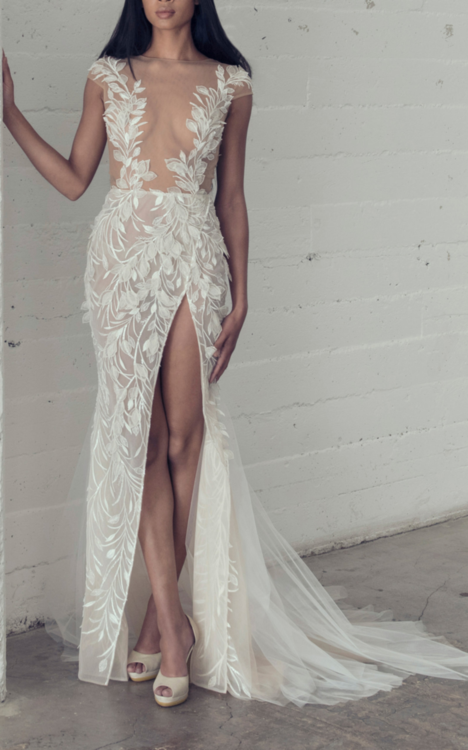 ADAM ZOHAR AGNES LEAF LACE GOWN