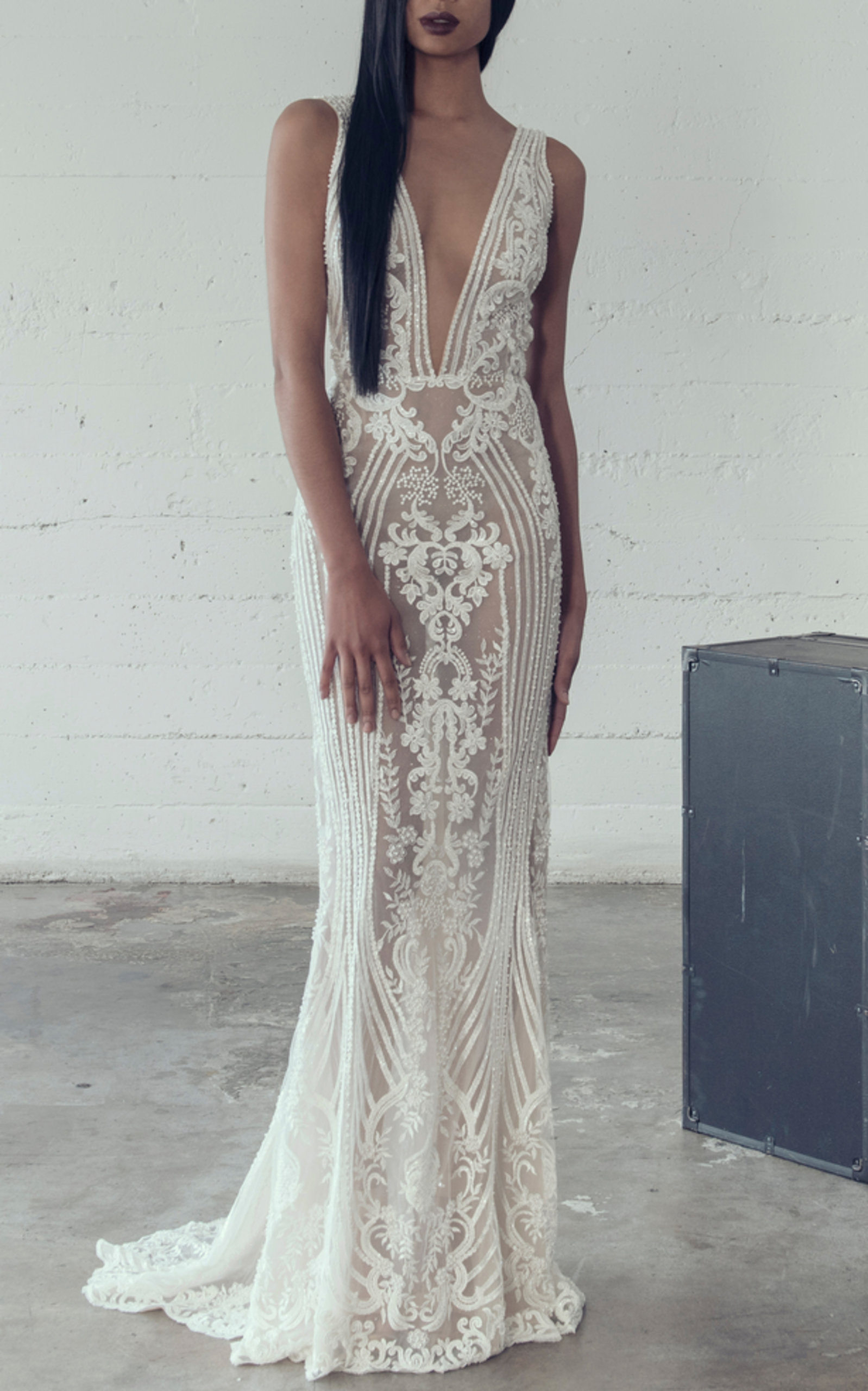 ADAM ZOHAR ERIKA V-NECK GOWN