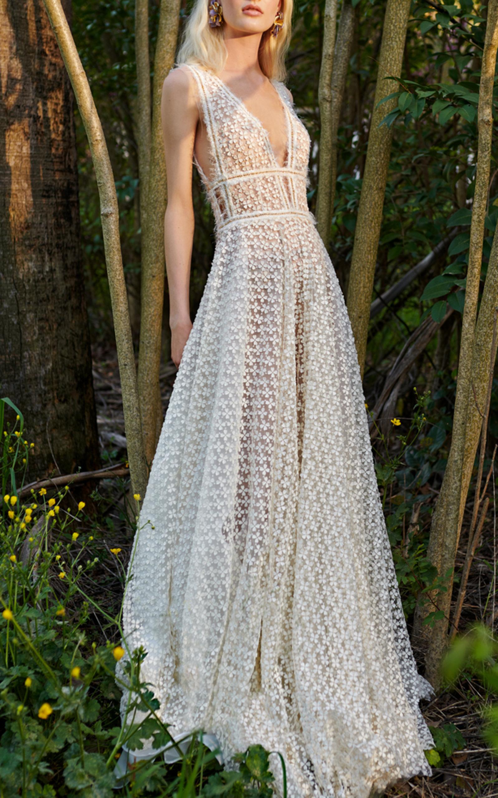 COSTARELLOS BRIDAL FLOWER LACE A-LINE DRESS
