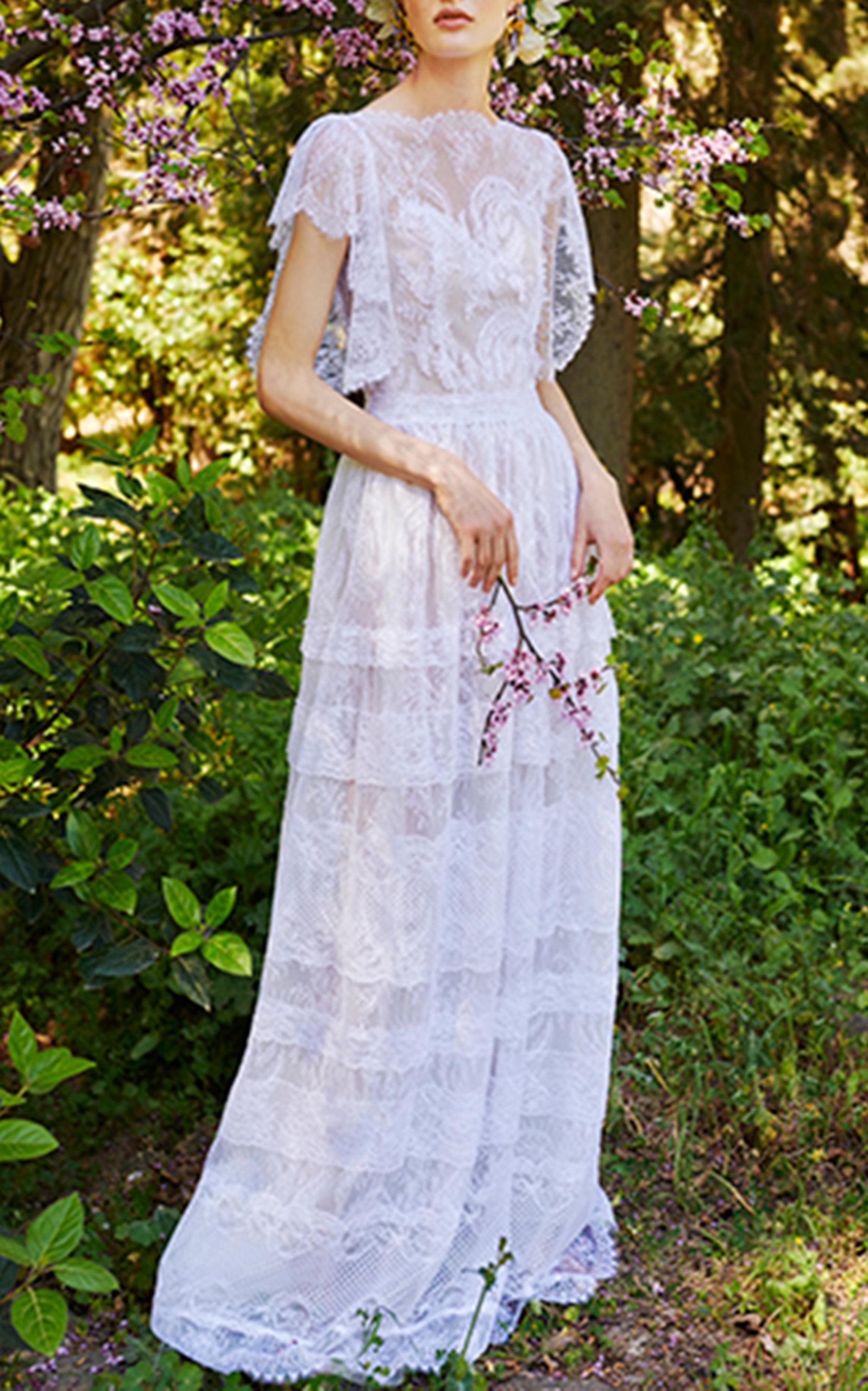 COSTARELLOS BRIDAL NEOROMANTIC CHANTILLY LACE DRESS