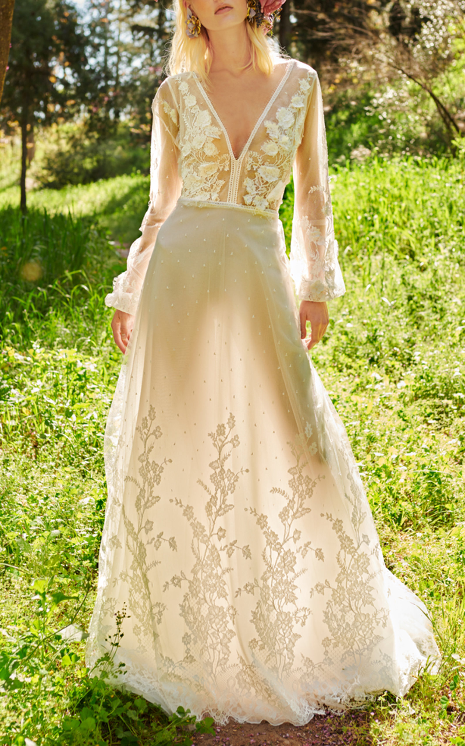 COSTARELLOS BRIDAL V-NECK TULLE AND LACE GOWN