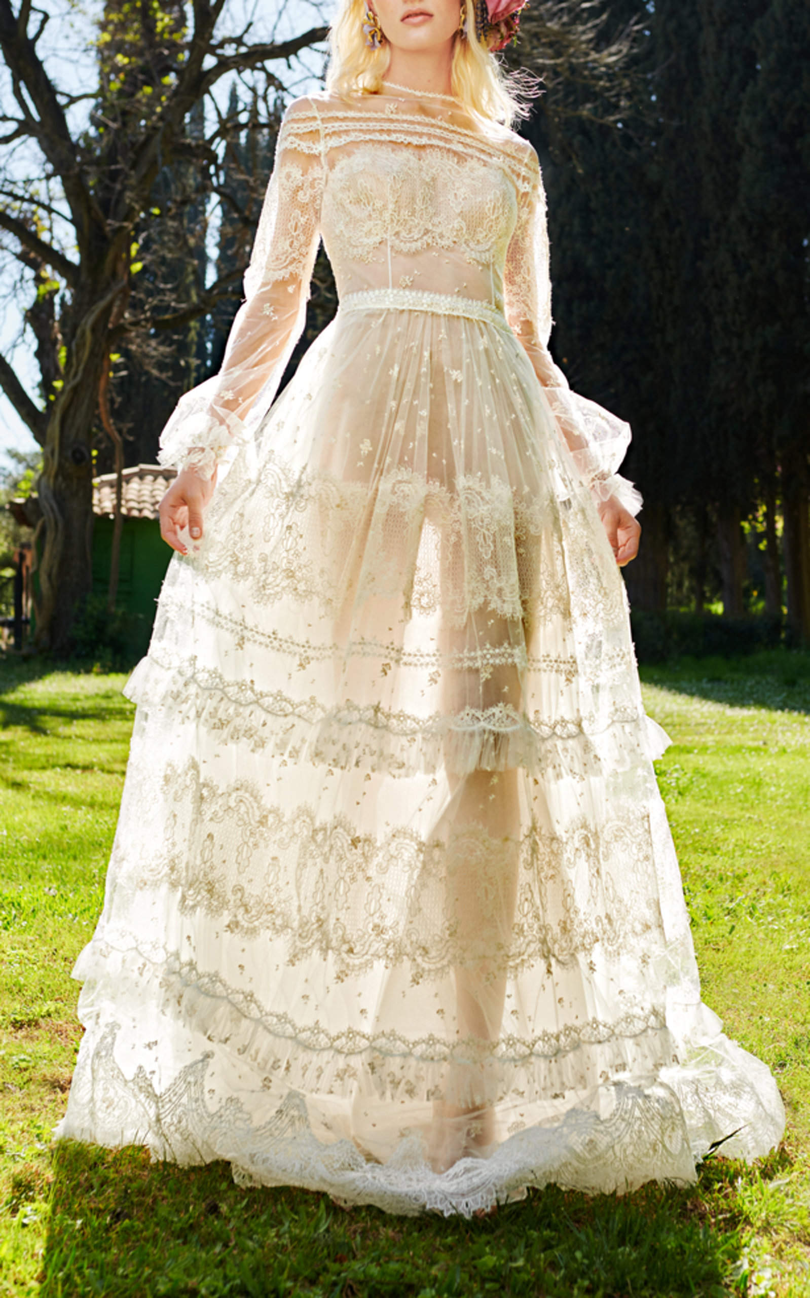 COSTARELLOS BRIDAL ROMANTIC GOSSAMER GOWN