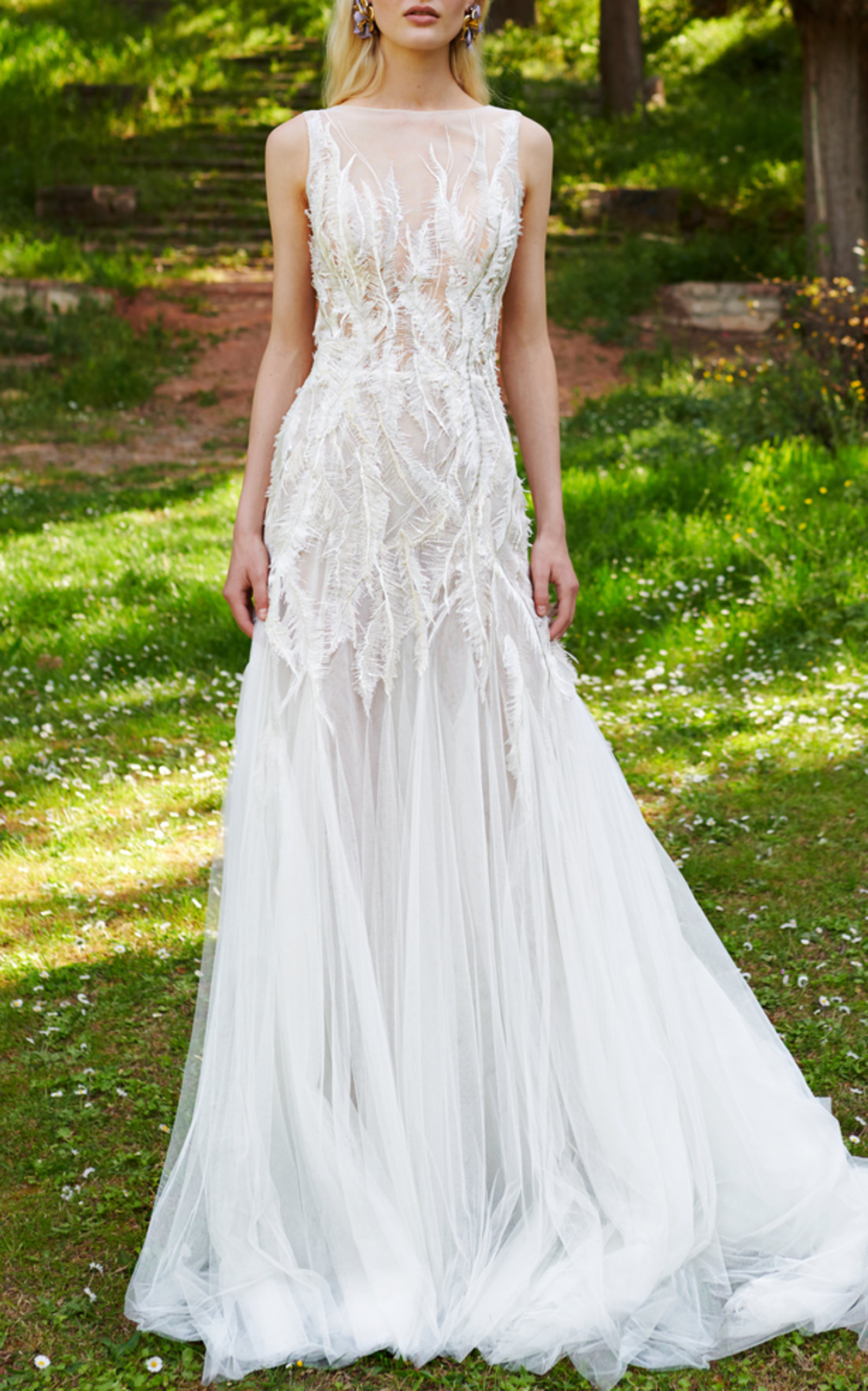 COSTARELLOS BRIDAL FEATHER LACE DRESS