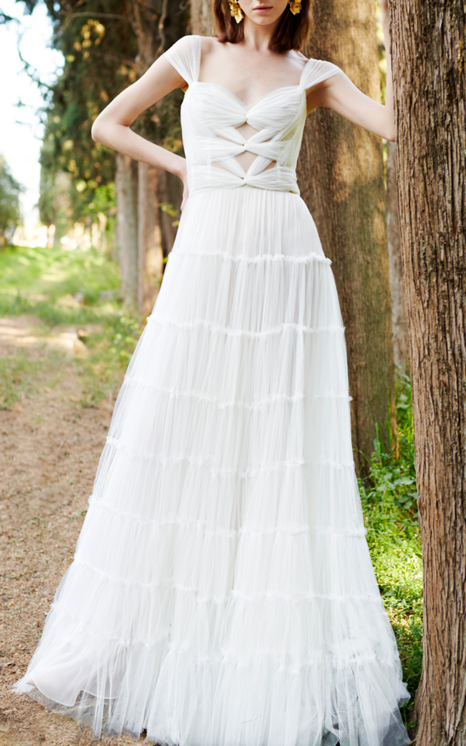 COSTARELLOS BRIDAL CORSET TIERED GOWN