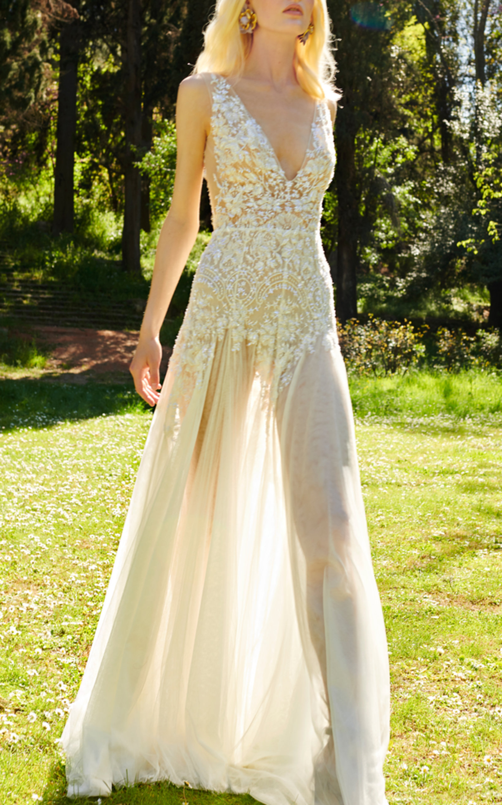COSTARELLOS BRIDAL CHANTILLY LACE DRESS