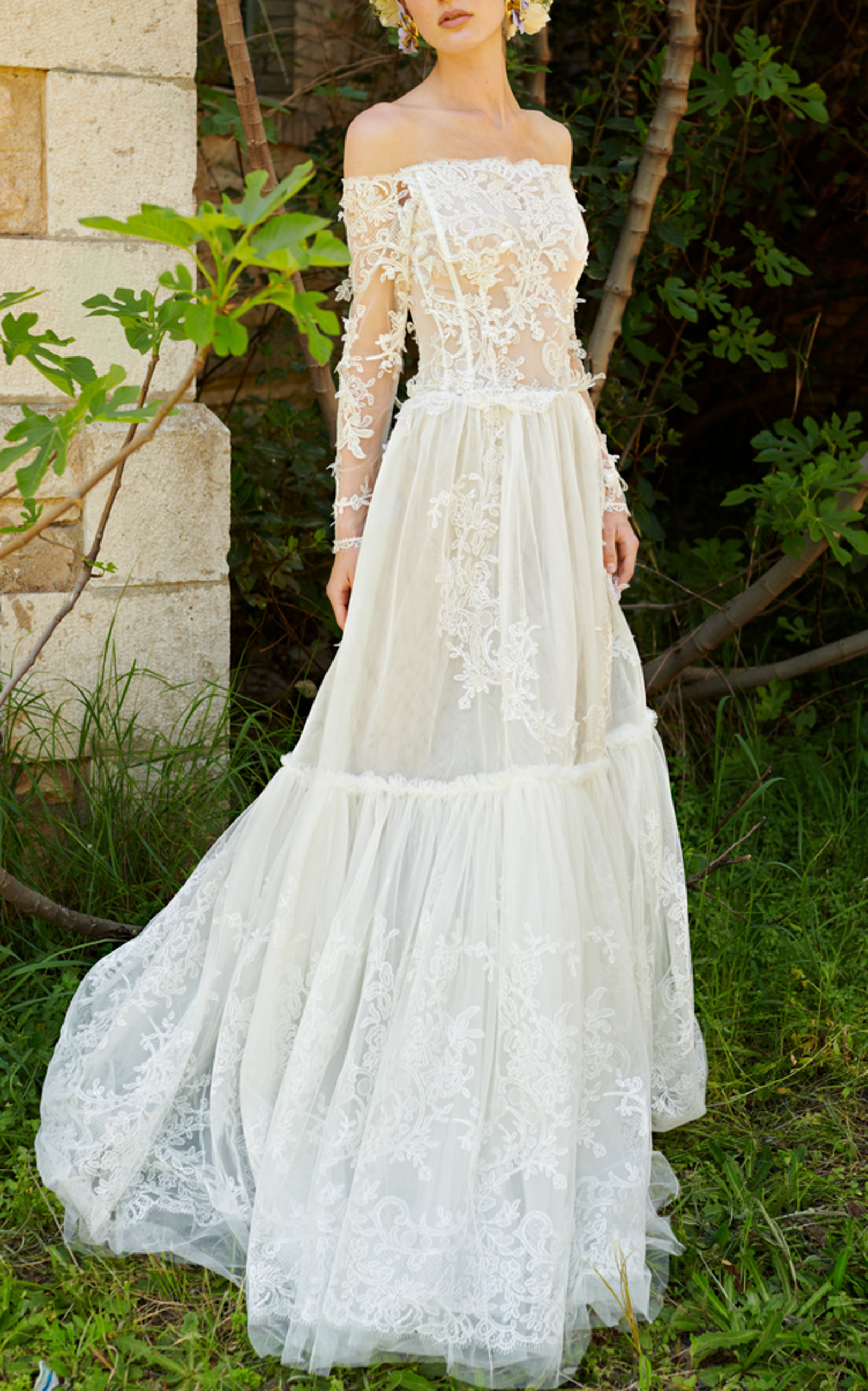 COSTARELLOS BRIDAL LACE OFF-THE-SHOULDER GOWN