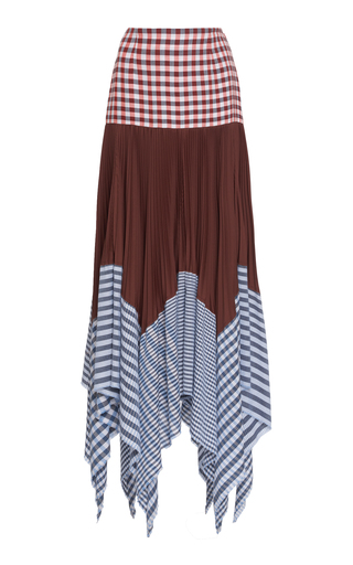 LOEWE | Loewe Pleated Gingham Cotton And Voile Maxi Skirt | Goxip
