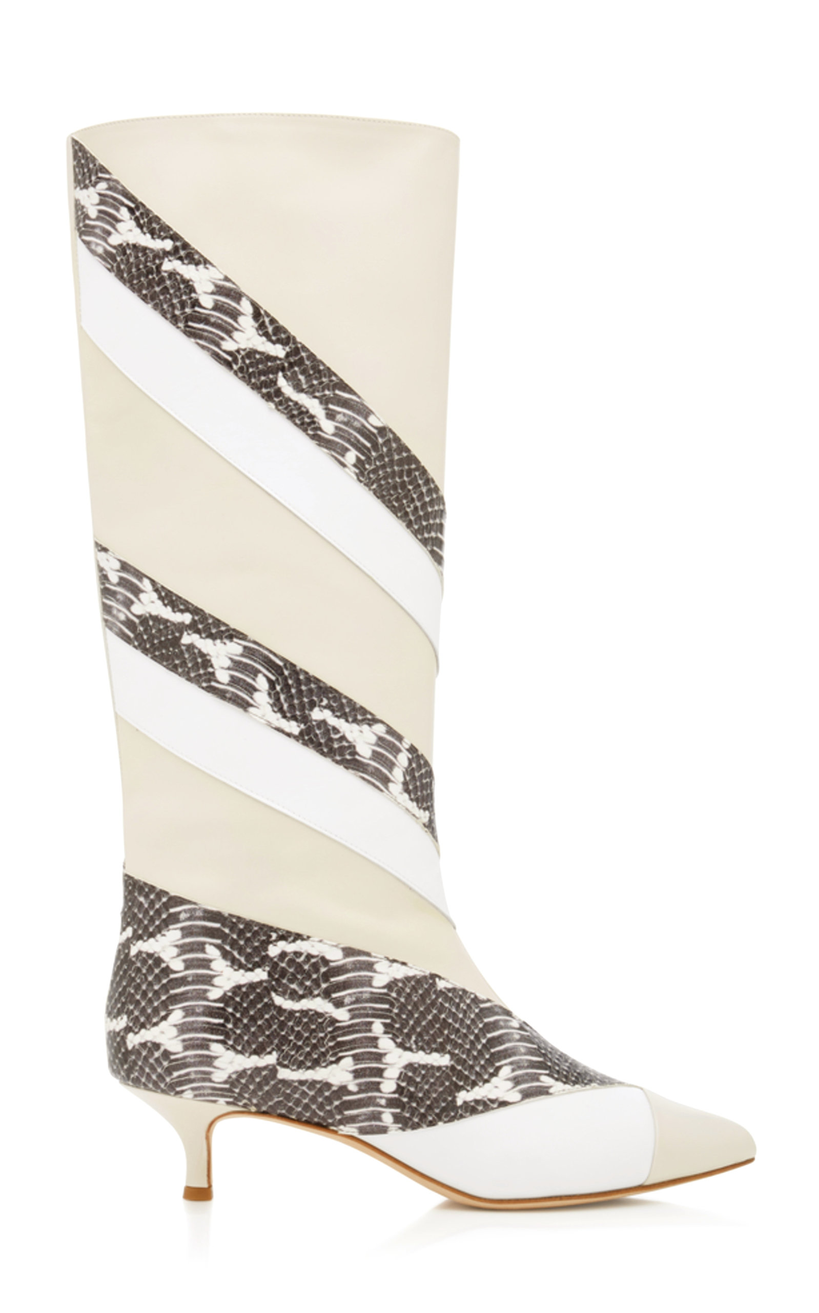 HART PANELED SNAKE-EFFECT LEATHER BOOTS