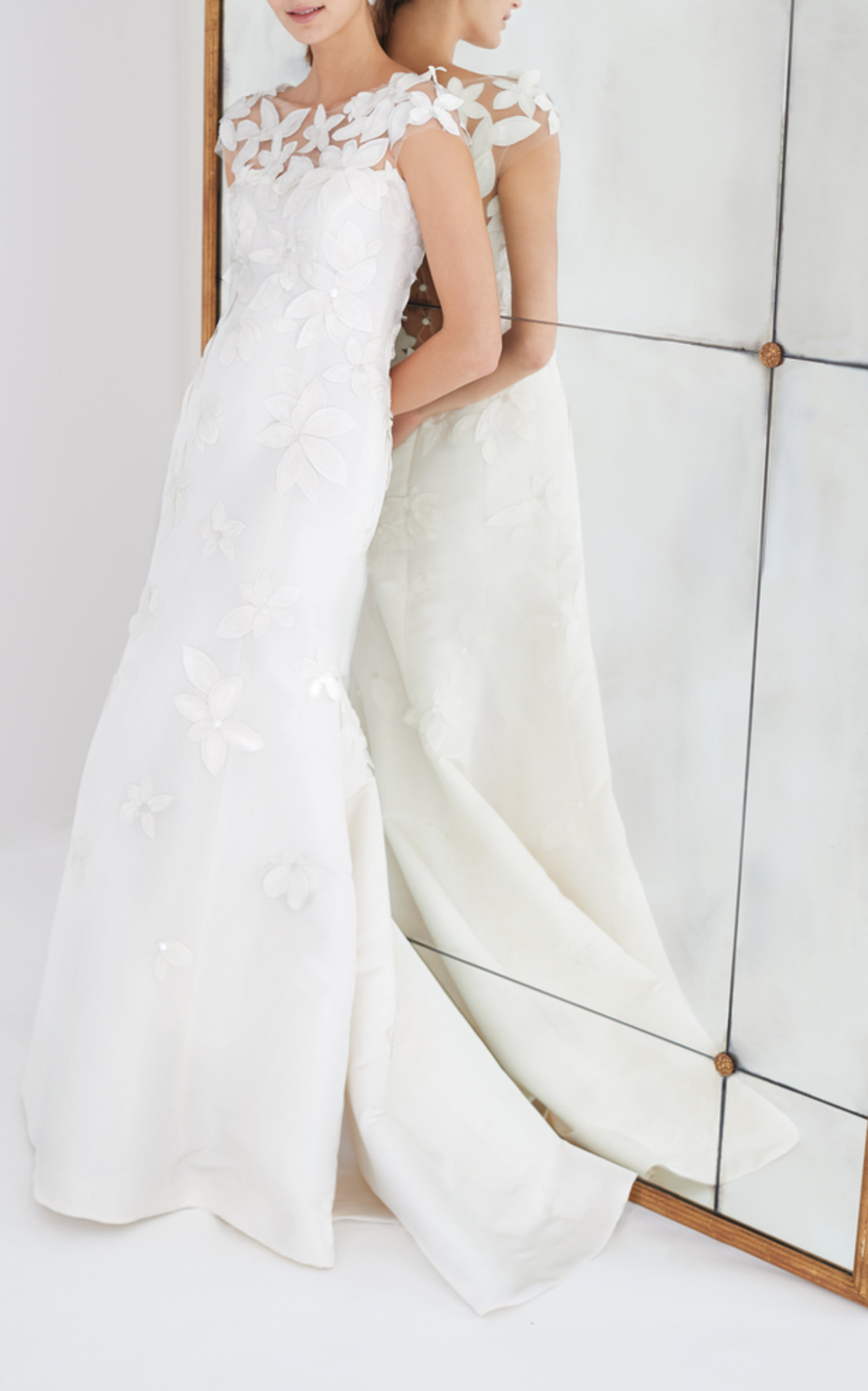 CAROLINA HERRERA BRIDAL GRETCHEN FLORAL-APPLIQUED TULLE AND SILK-FAILLE GOWN