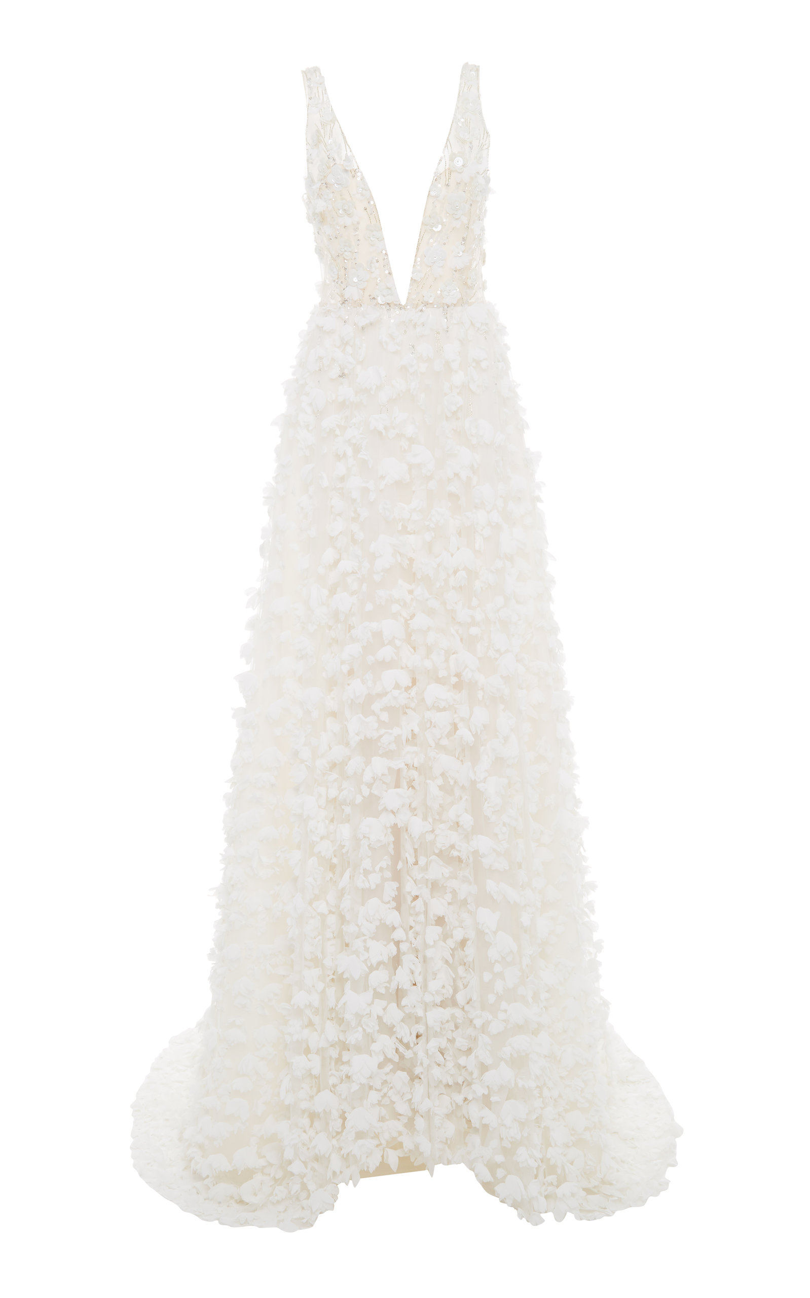 MIRA ZWILLINGER COCO APPLIQUÉD TULLE GOWN