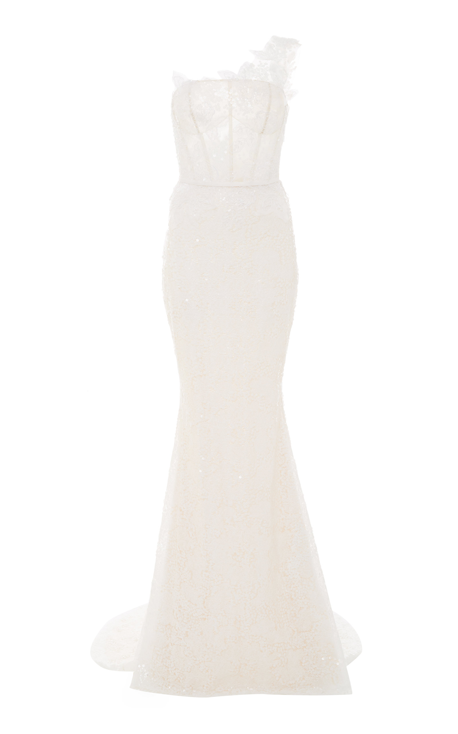 MIRA ZWILLINGER JOELLE ONE-SHOULDER LACE GOWN
