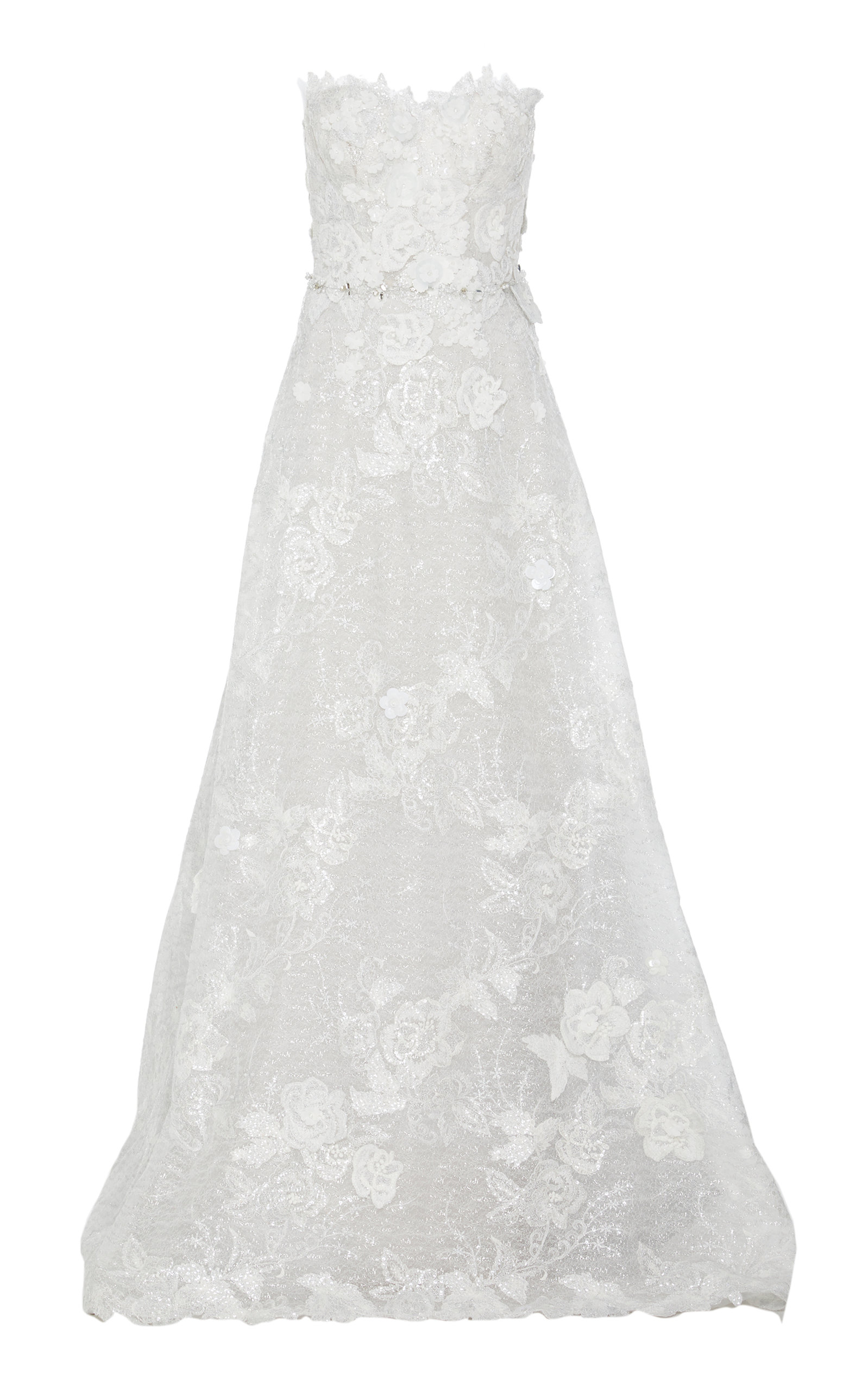 MIRA ZWILLINGER M'O EXCLUSIVE ASHALIA STRAPLESS LACE GOWN