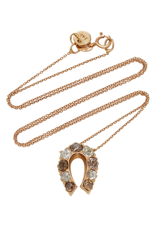 FOX AND BOND | Fox and Bond 14K Rose Gold And Diamond Horseshoe Pendant Necklace | Goxip
