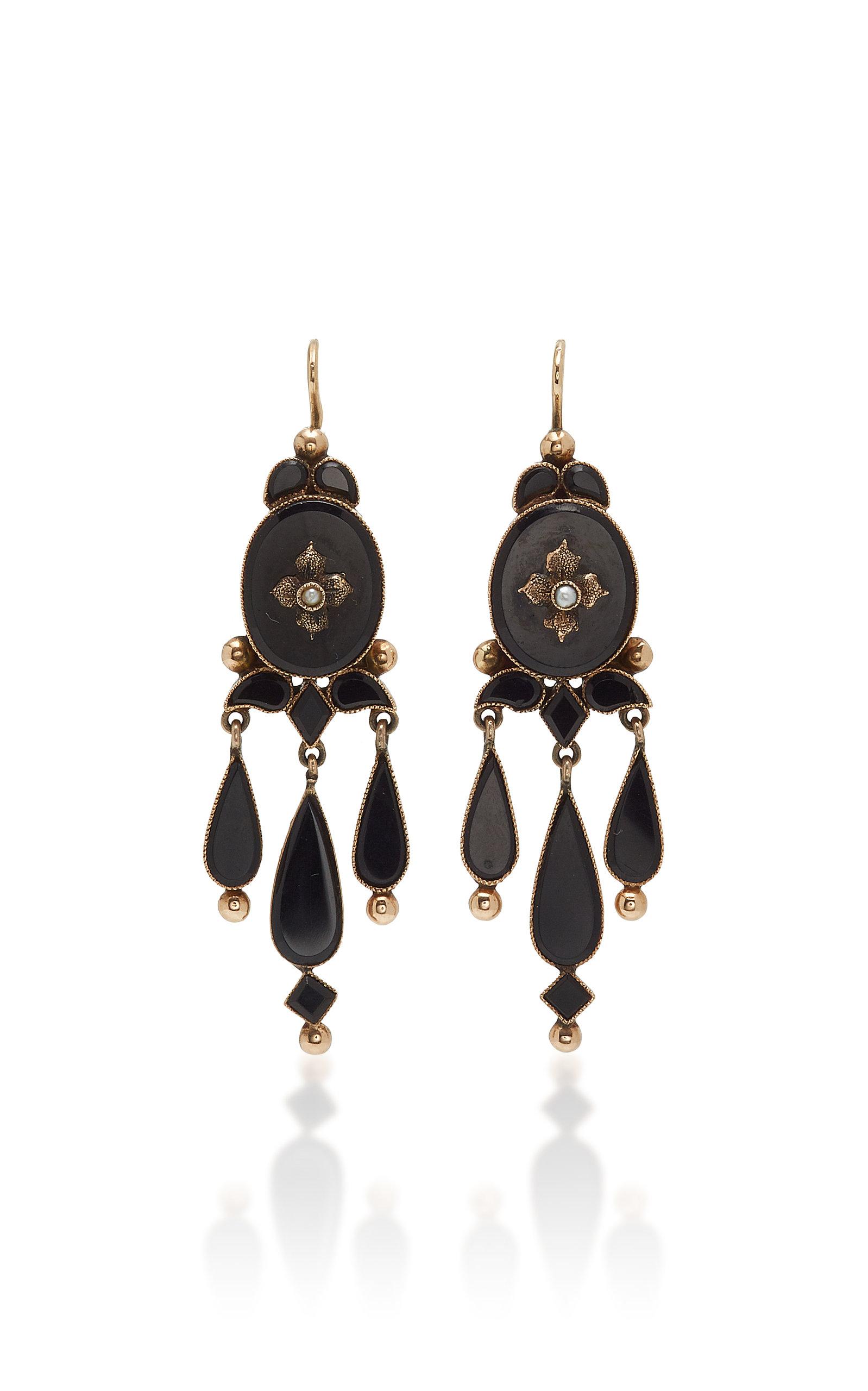 Fox And Bond Victorian Onyx 14k Gold Chandelier Earrings In Black