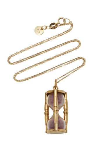 FOX AND BOND | Fox and Bond Vintage Pink Sand And 14K Gold Hourglass Pendant Necklace | Goxip