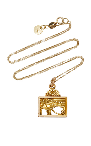 FOX AND BOND | Fox and Bond Vintage Egyptian Eye 14K Gold Pendant Necklace | Goxip