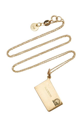 FOX AND BOND | Fox and Bond Vintage 14K Gold Envelope Pendant Necklace | Goxip