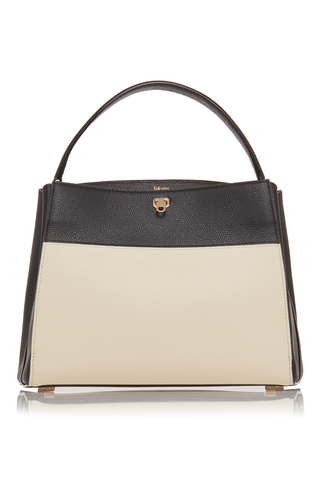 Valextra Brera Small Two-Tone Leather Top Handle Bag