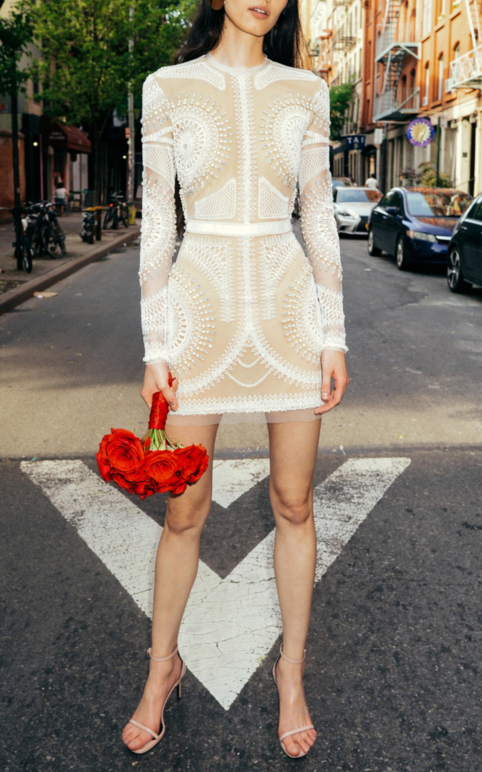 CUCCULELLI SHAHEEN SOLAR SHADOW WHITE MINI DRESS