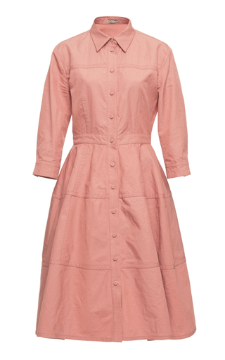 BOTTEGA VENETA | Bottega Veneta Collared Cotton-Blend Shirt Dress | Goxip