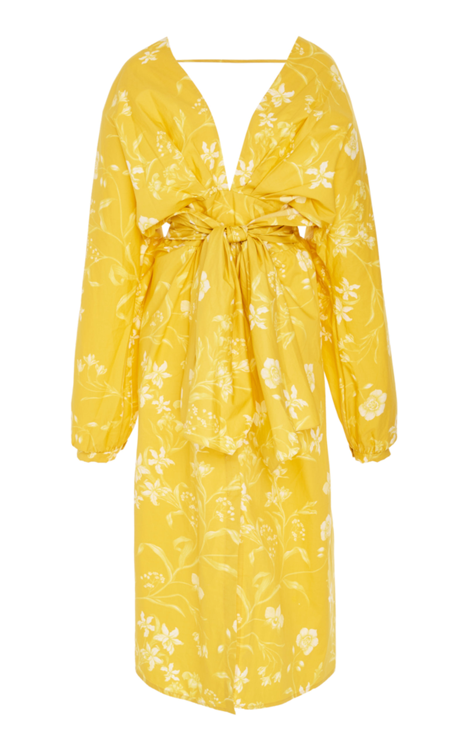 San Bernardo Del Viento Floral-Print Deep-V Wrap Dress in Yellow
