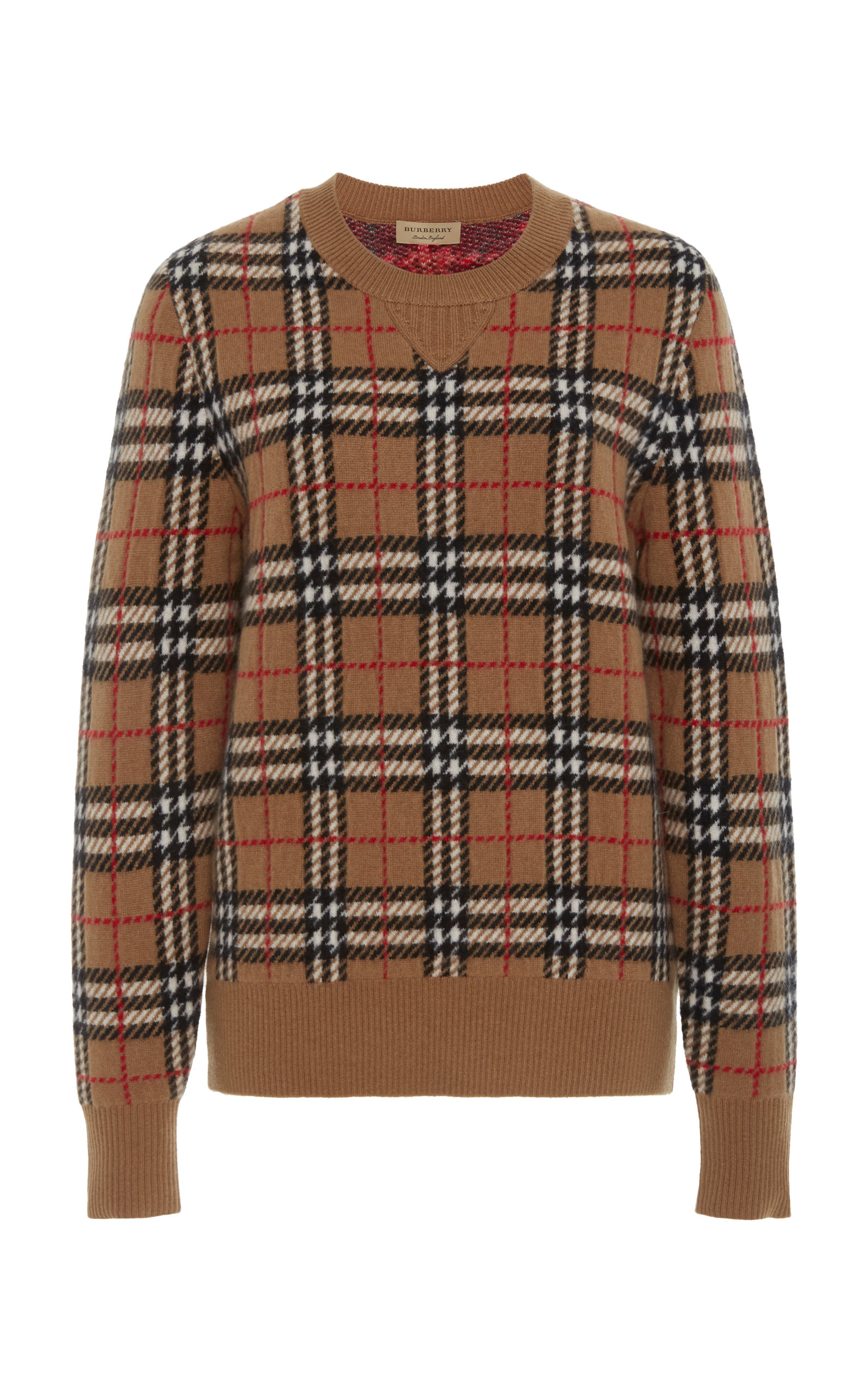 d293a64fe8d731 BurberryBanbury Checked Cashmere Sweater. CLOSE. Loading