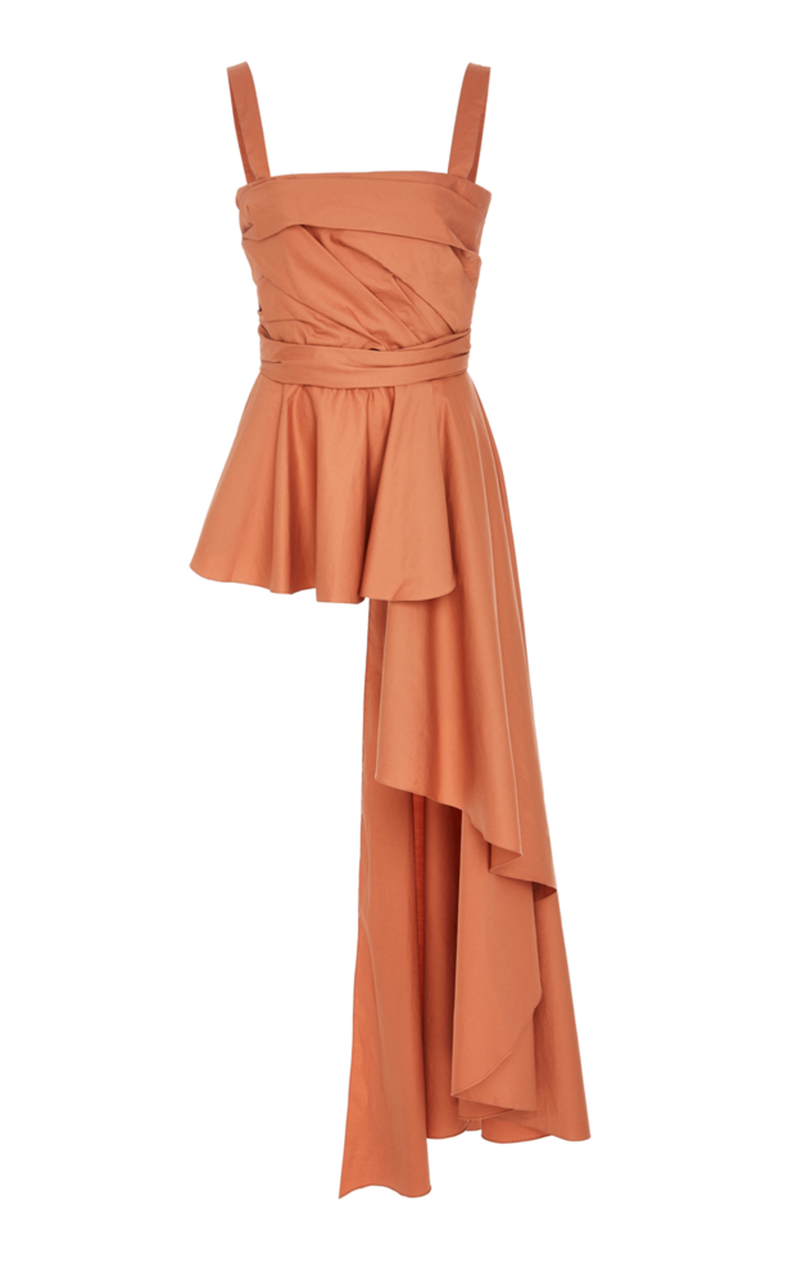 ba166fd26e6e83 Johanna Ortiz Bulerias Sleeveless Square-Neck Side-Draped Peplum Blouse In  Orange