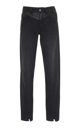 GIVENCHY | Givenchy Leather-Panel High-Rise Skinny Stretch-Denim Jeans | Goxip