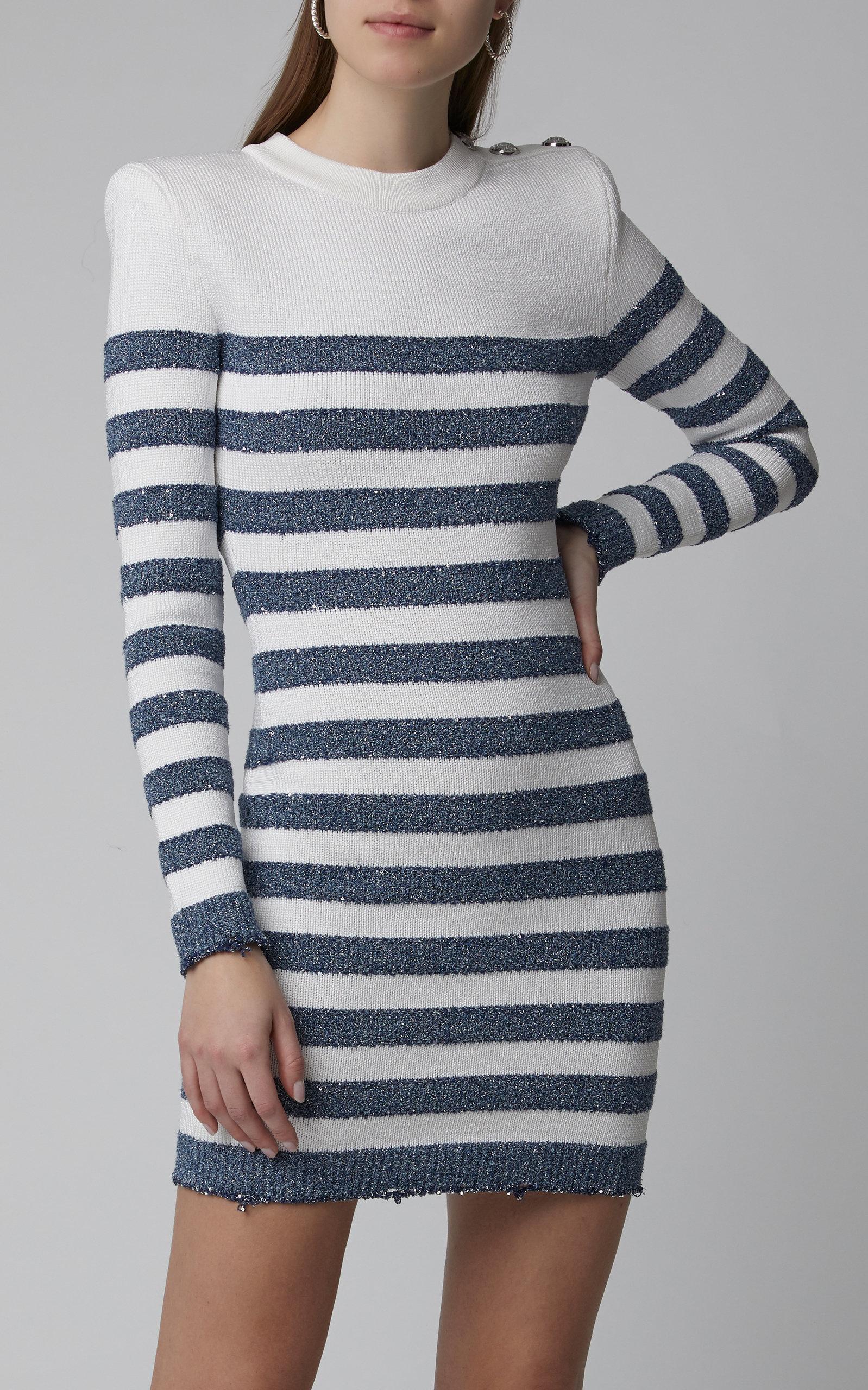 905cd1ba Long-Sleeved Striped Mini Dress by Balmain | Moda Operandi