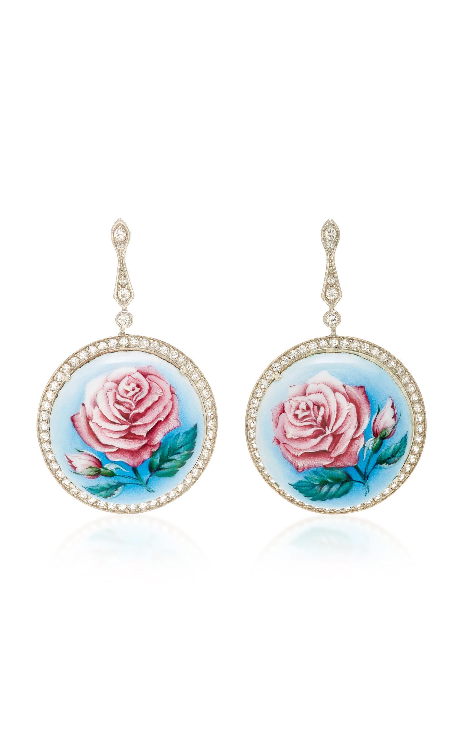 AXENOFF JEWELLERY La Vie En Rose Silver Drop Earrings in Floral