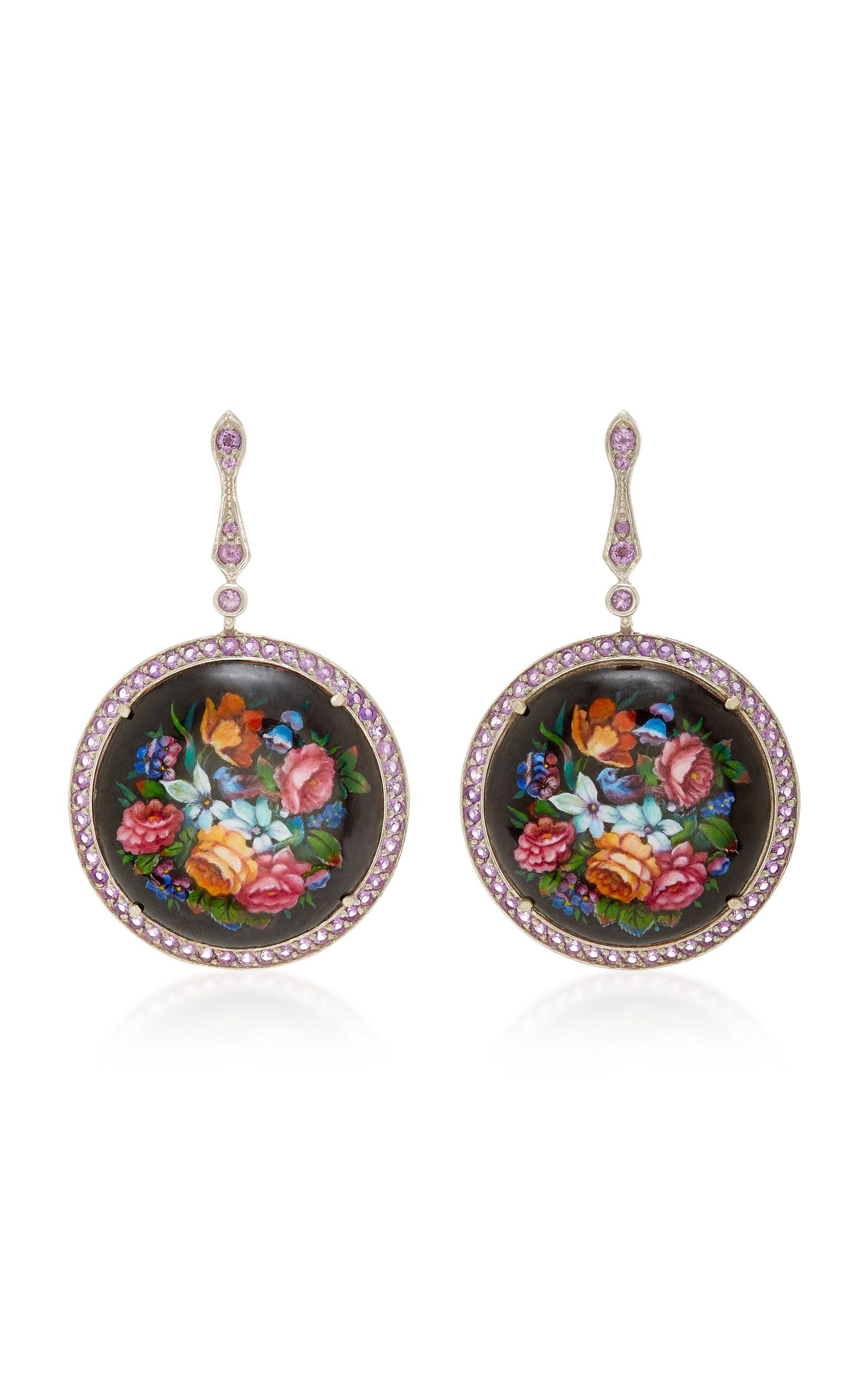 AXENOFF JEWELLERY Heartbreak Garden Silver Drop Earrings in Floral
