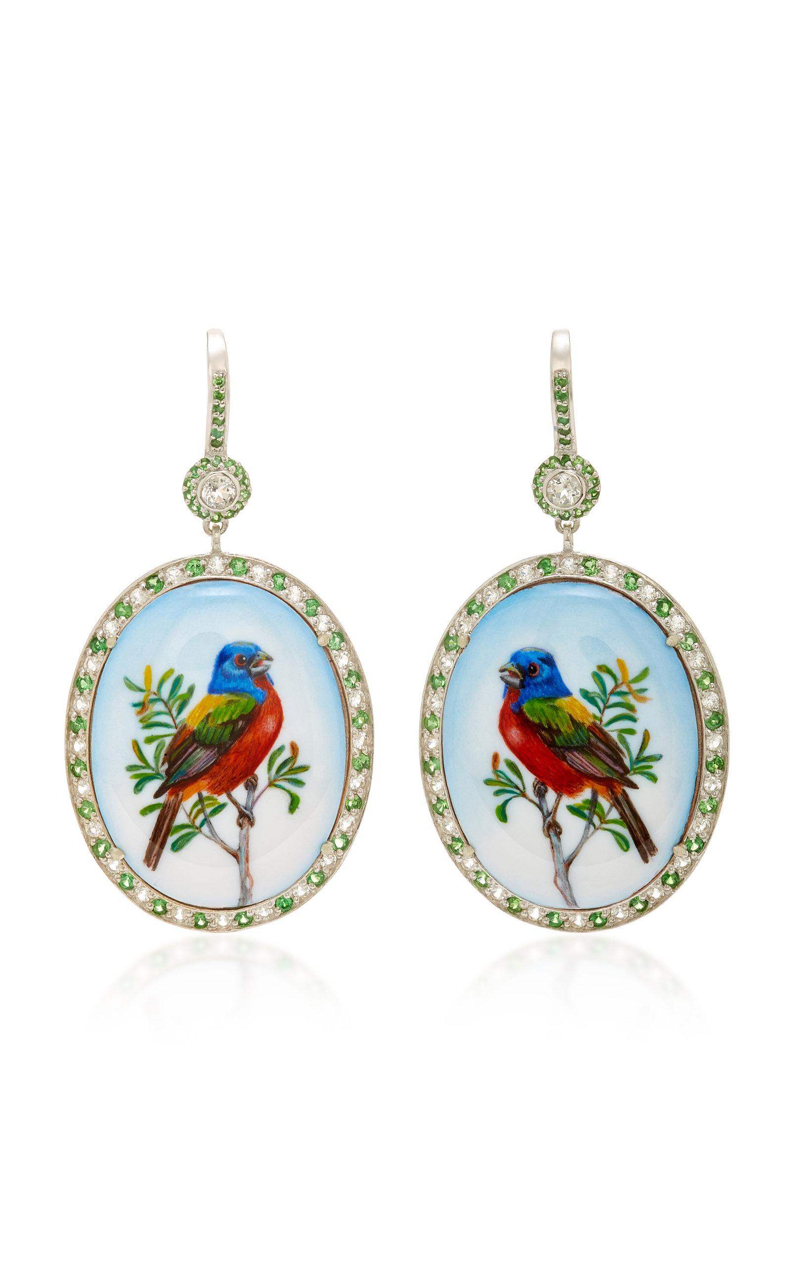 AXENOFF JEWELLERY Thorn Birds Silver Drop Earrings in Floral