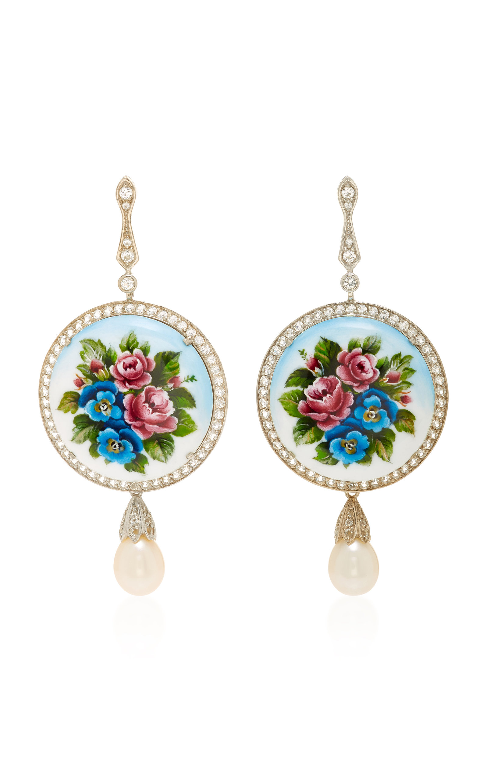 AXENOFF JEWELLERY Magic Flowers Silver Drop Earrings in Floral