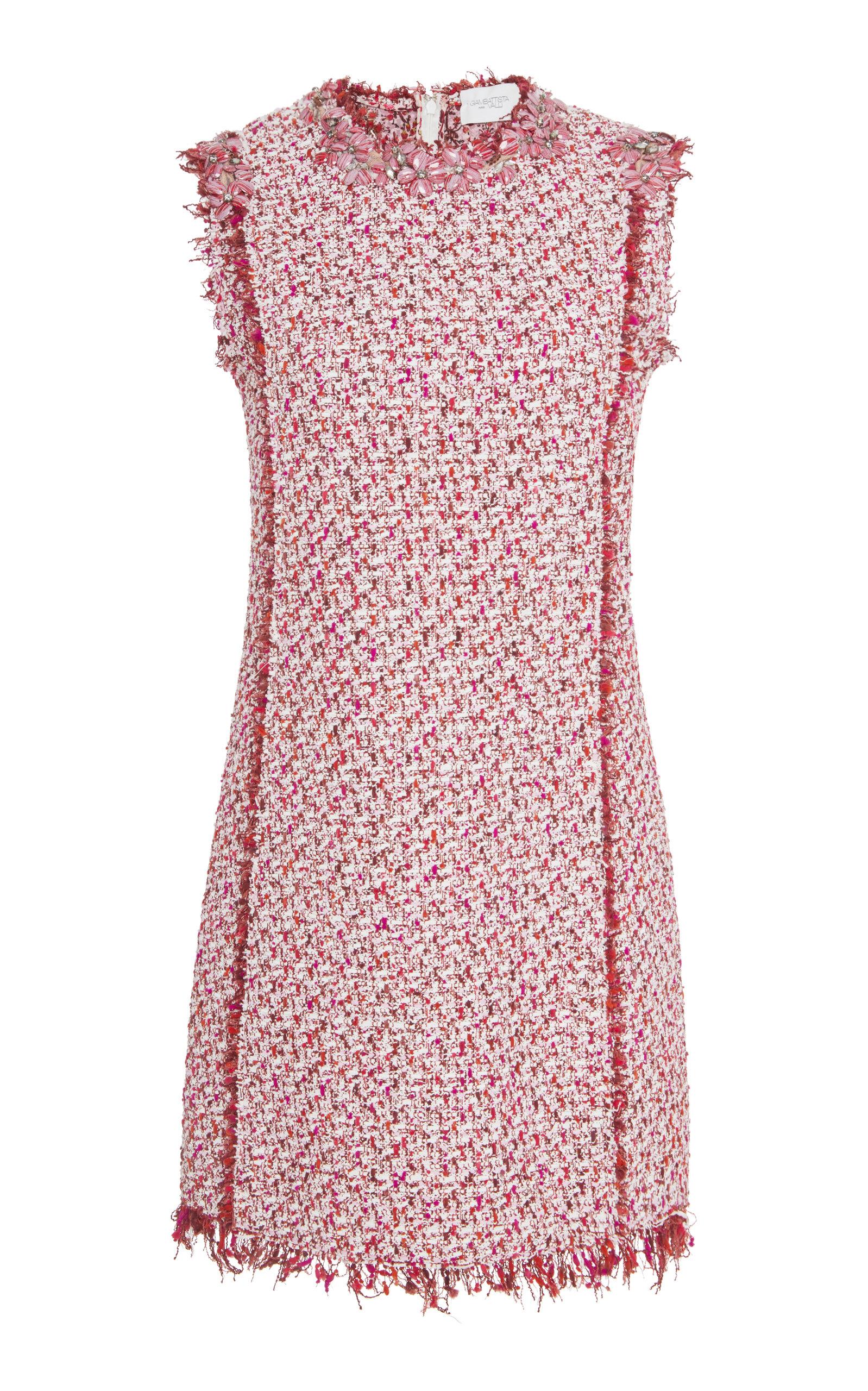 GIAMBATTISTA VALLI Sleeveless Fringe-Edge Tweed Shift Dress in Pink