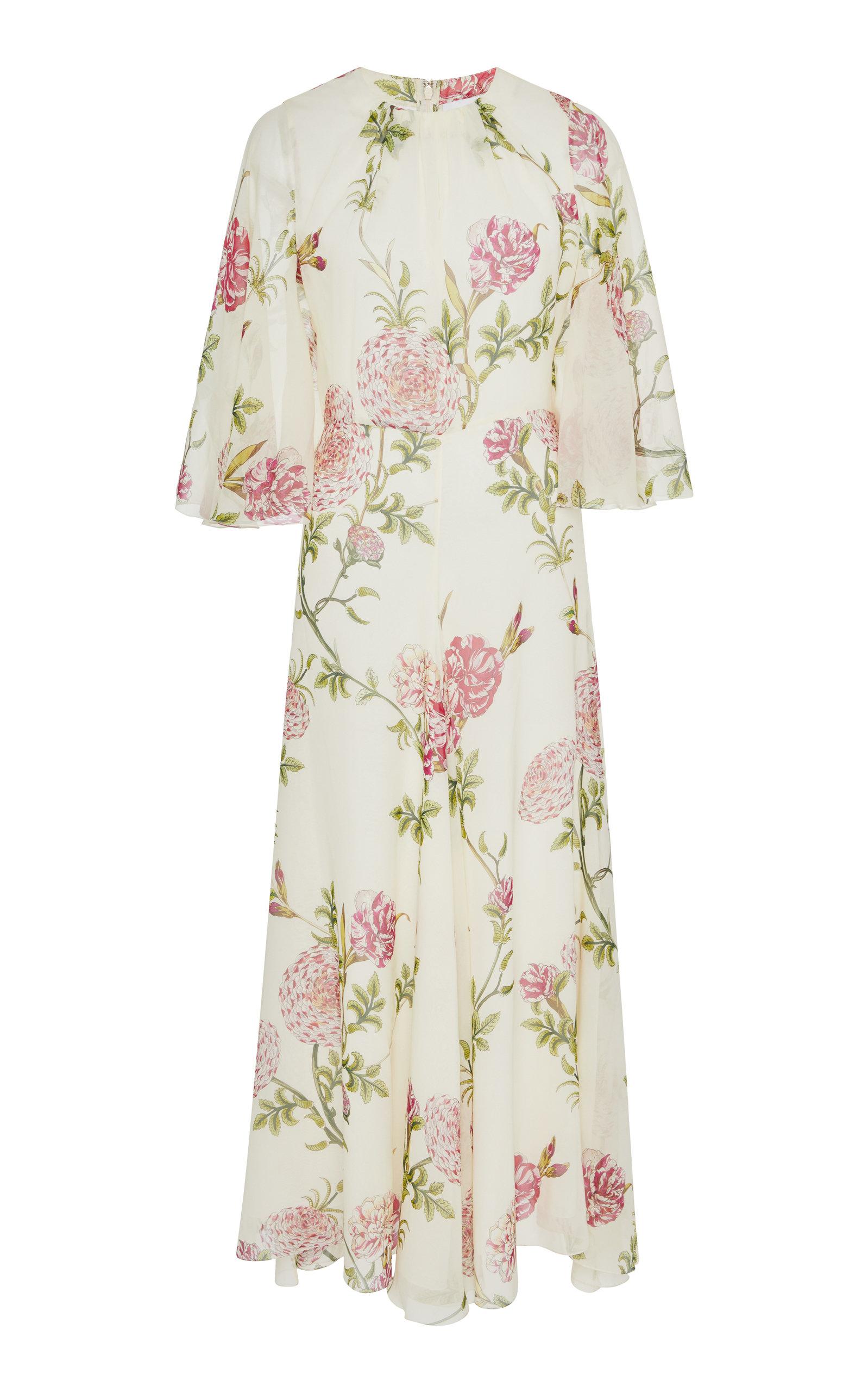 GIAMBATTISTA VALLI | Giambattista Valli Floral-Print Silk-Chiffon Midi Dress | Goxip