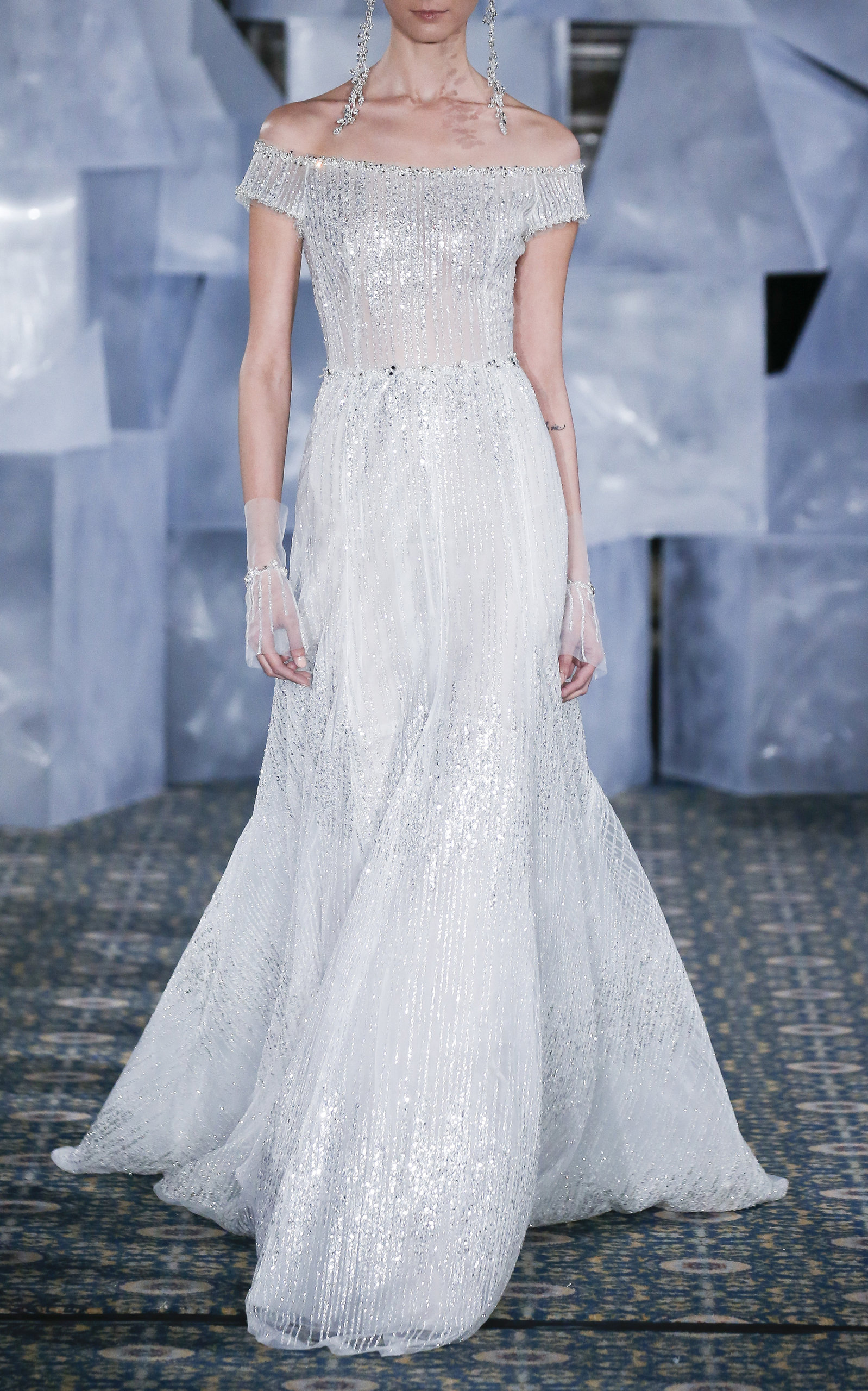 MIRA ZWILLINGER ARIN OFF-THE-SHOULDER GOWN
