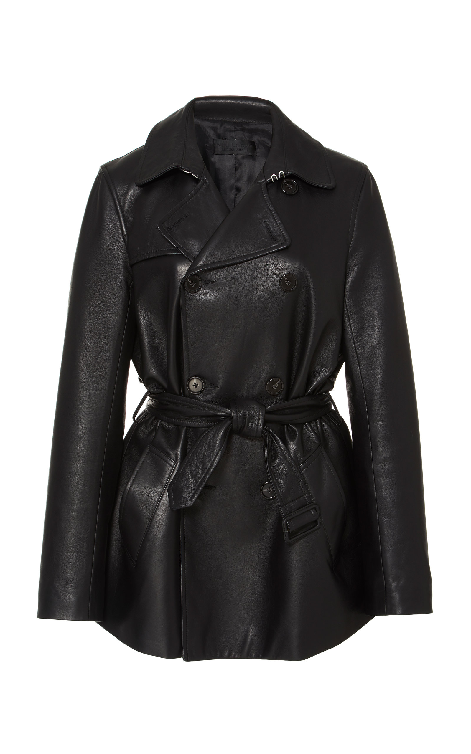 Rose Lambskin Trench Coat in Black
