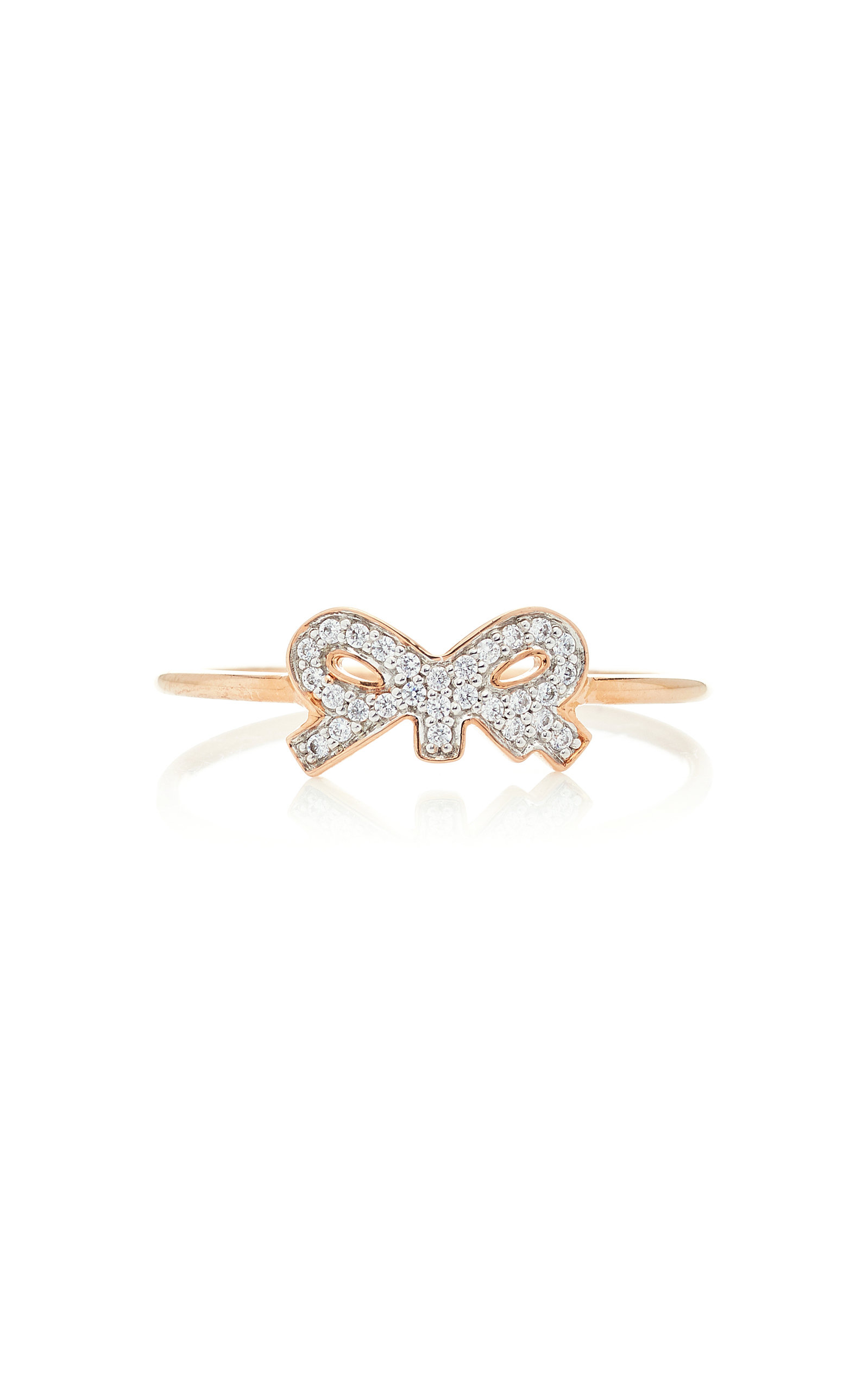 GINETTE NY Tiny Diamond 18K Rose Gold Ring in Pink
