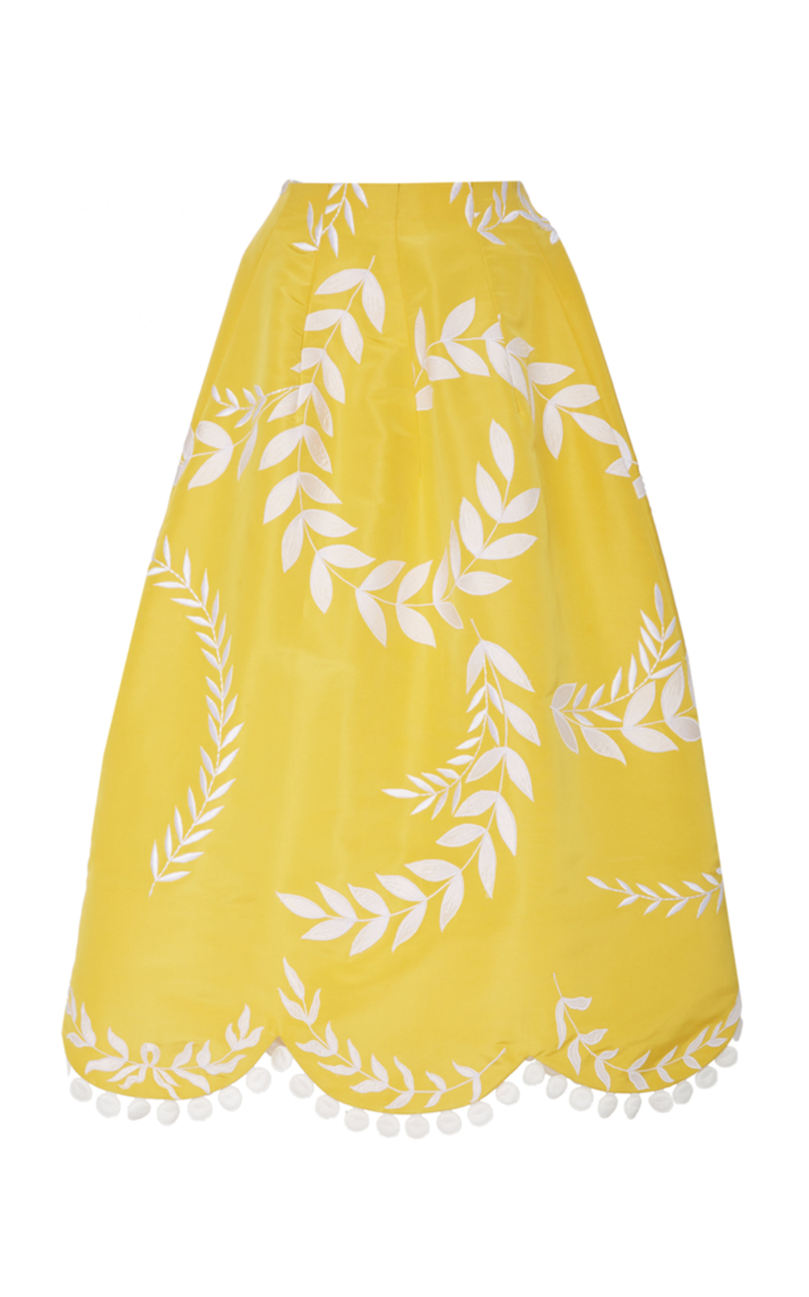Oscar De La Renta Silks SCALLOPED SILK MIDI SKIRT