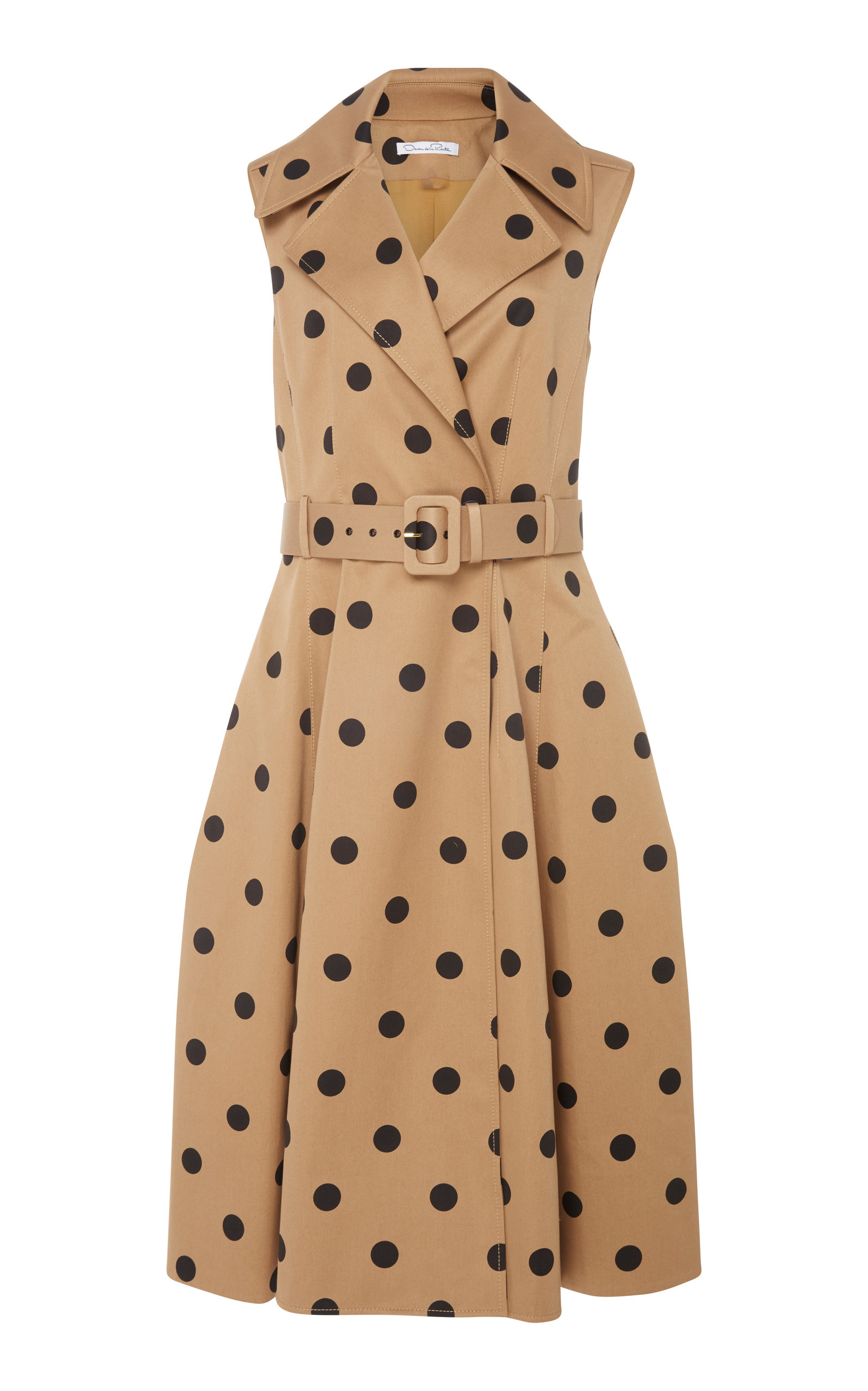 OSCAR DE LA RENTA Sleeveless Polka-Dot Twill Tea-Length Dress W/ Wide Belt in Brown