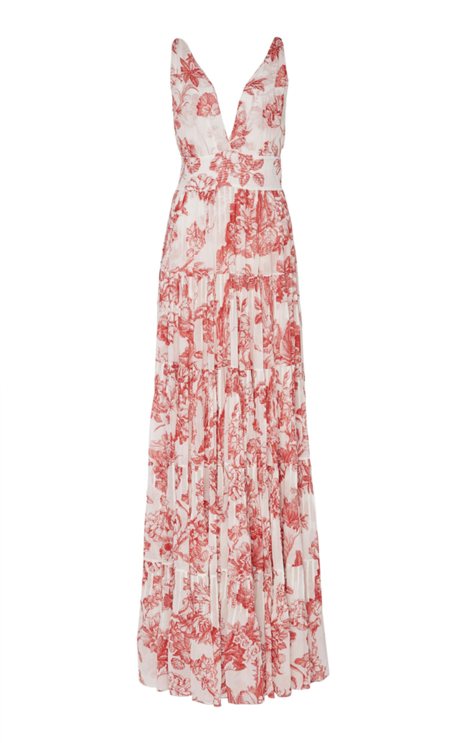 90336436d1fe4 Oscar de la Renta Floral Silk Maxi Dress