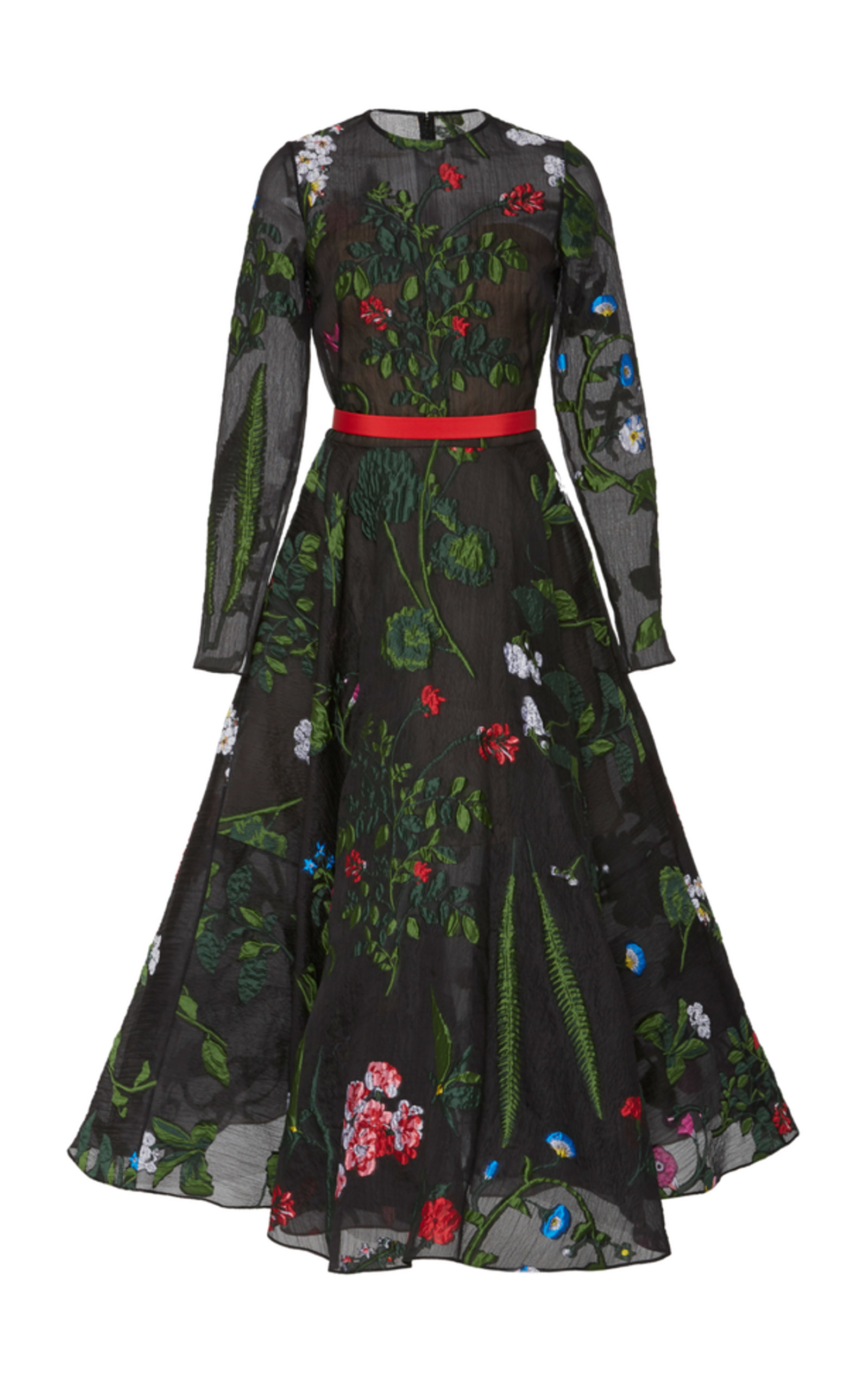 Long-Sleeve Belted Floral-Embroidered Fit-And-Flare Mesh Evening Gown in Black