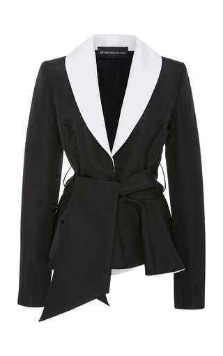 BRANDON MAXWELL | Brandon Maxwell Two-Tone Belted Crepe Tuxedo Jacket | Goxip