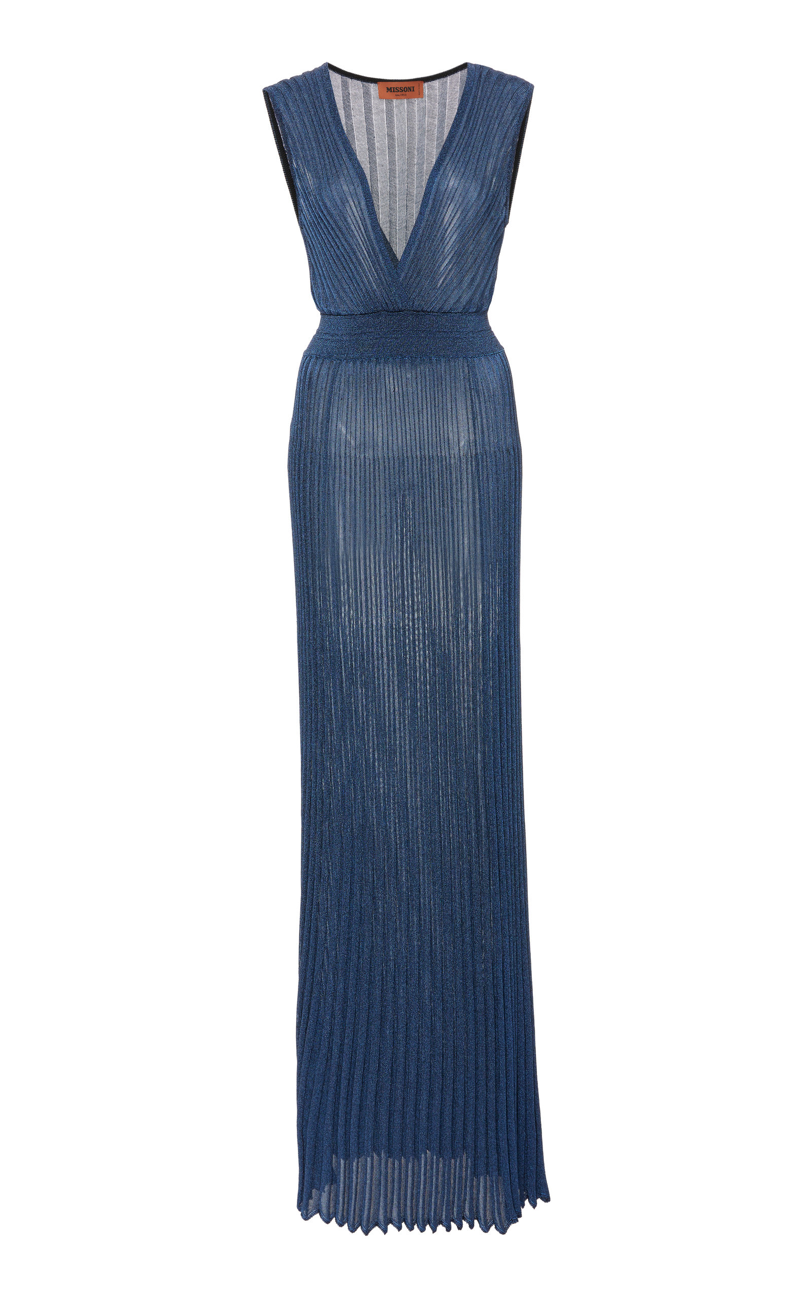 275a7877a70a9 Sleeveless Metallic Crochet-Knit Maxi Dress by Missoni | Moda Operandi