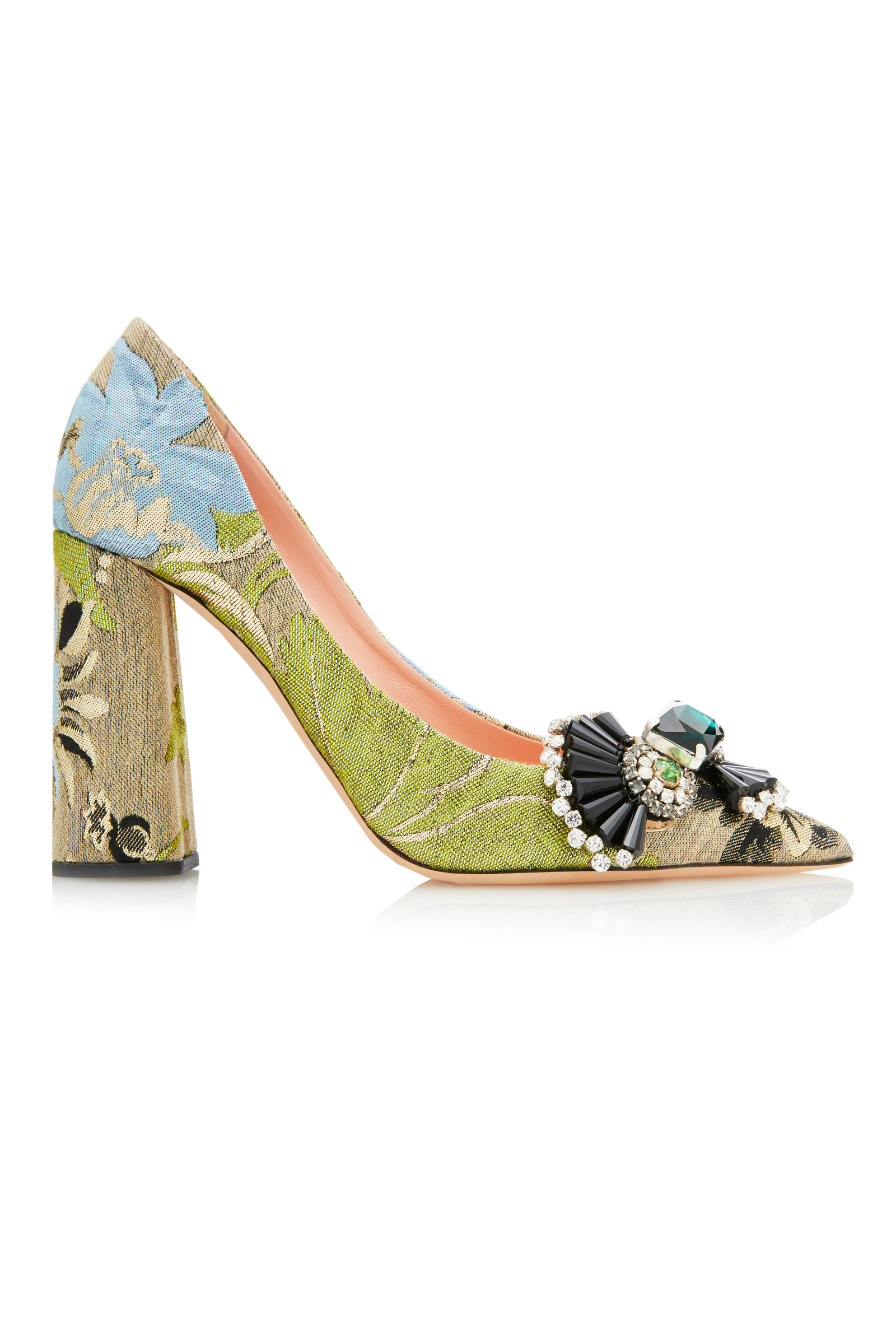 Low Price Cheap Online Fashionable Online Brocade Block Heel Pumps Rochas Ty2qtqgsV