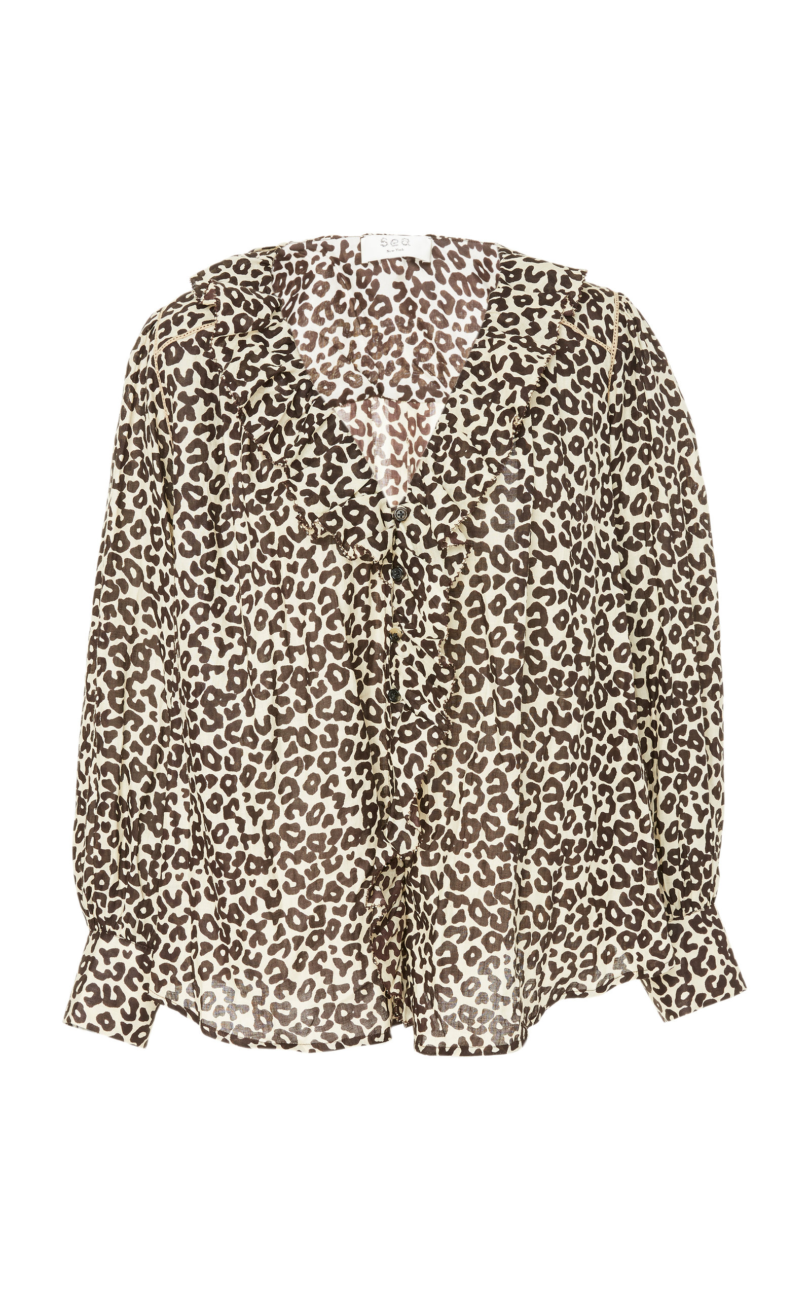 SEA | Sea Lottie Leopard-Print Cotton Blouse | Goxip