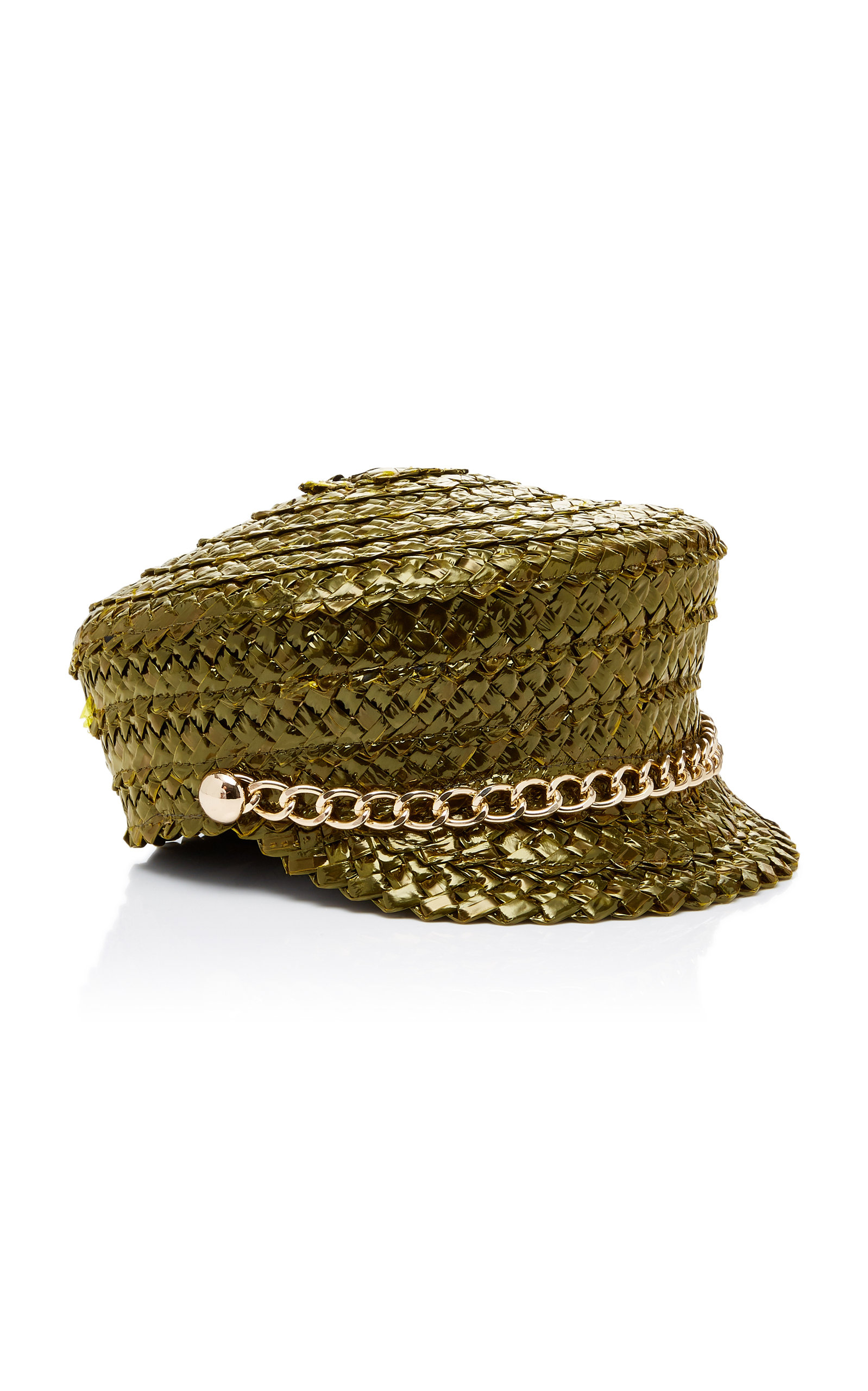 d1df368fb33 Eugenia Kim Sabrina Chain-Embellished Woven Straw Hat In Green ...