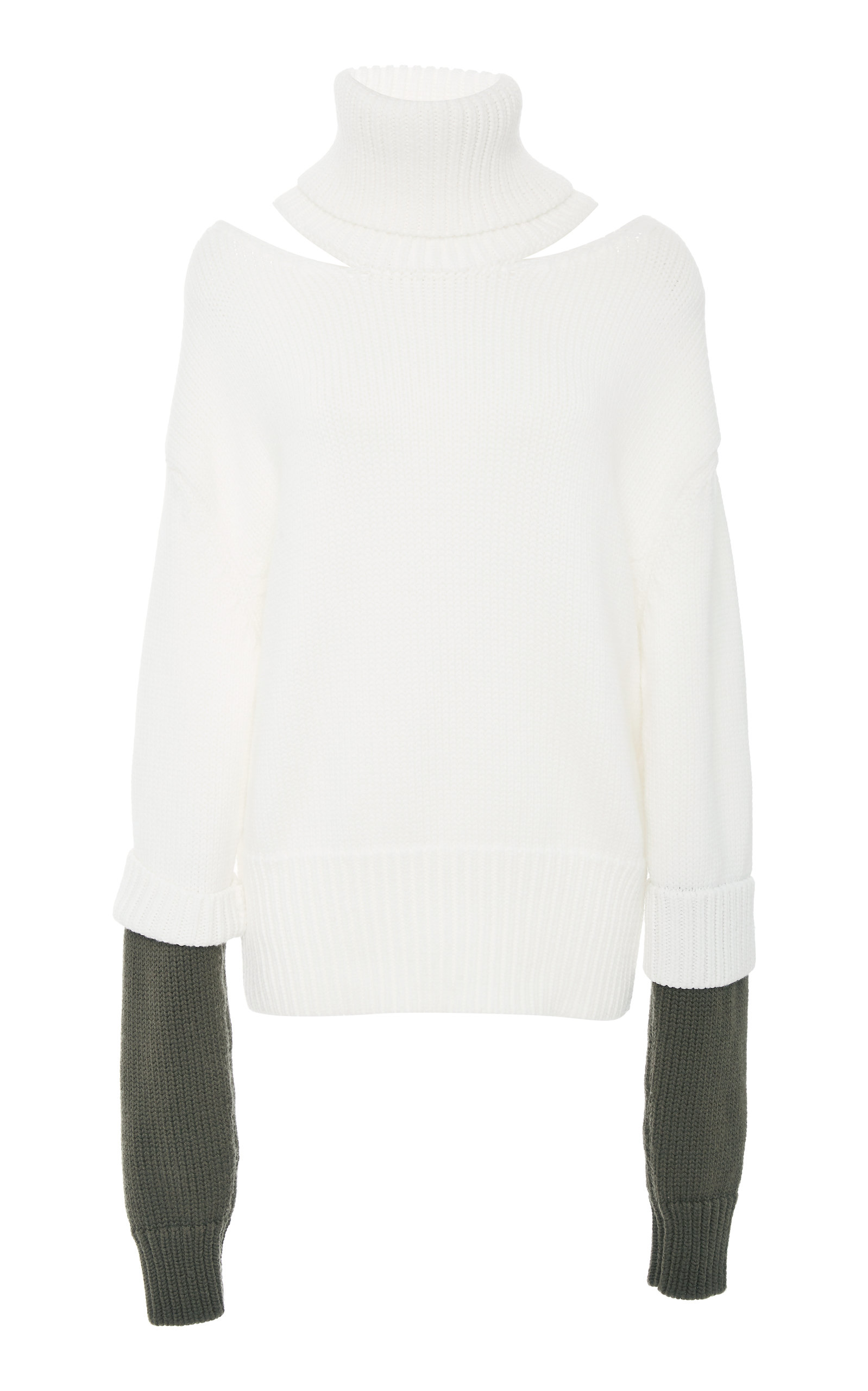 MONSE | MONSE Double-Cuff Cutout Two-Tone Wool Turtleneck | Goxip